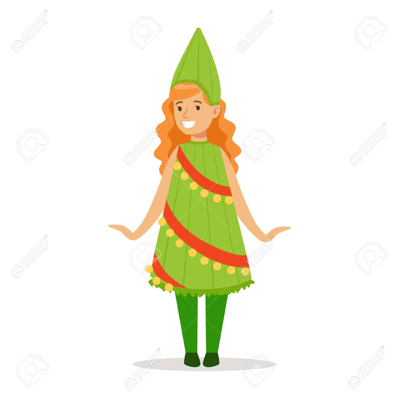 Christmas Carnival Theme Outfit.Girl In Christmas Tree Outfit Dressed As Winter Holidays Symbol