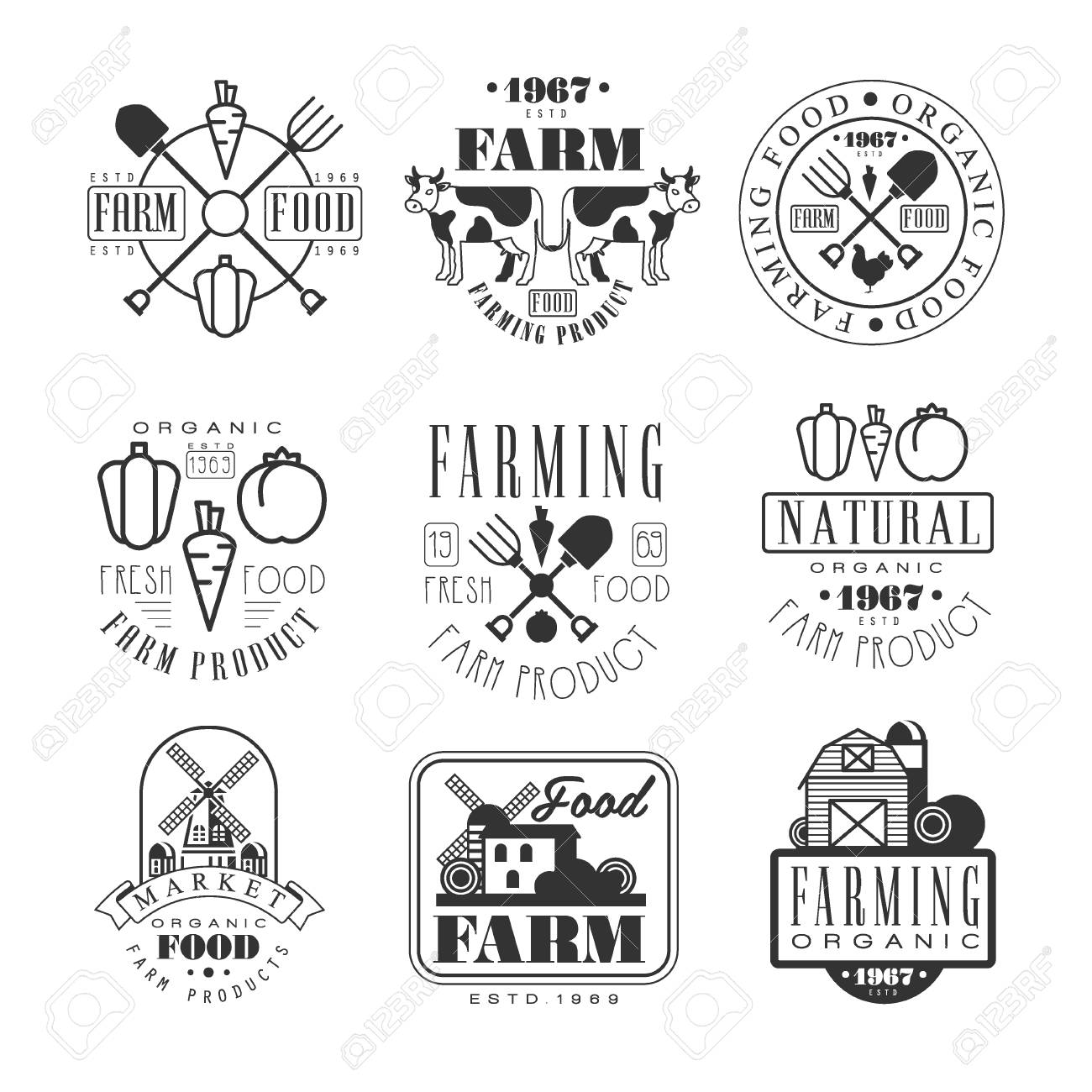 organic farm products black and white sign design templates with text and tools silhouettes stock vector