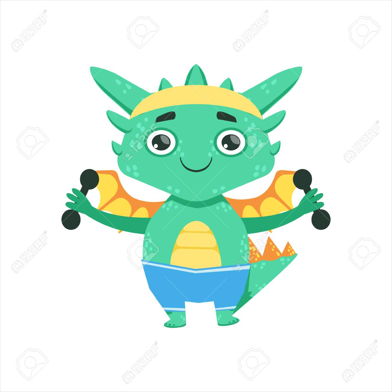 Little anime style baby dragon exercising with dumbbells cartoon character emoji illustration stock vector 68989169