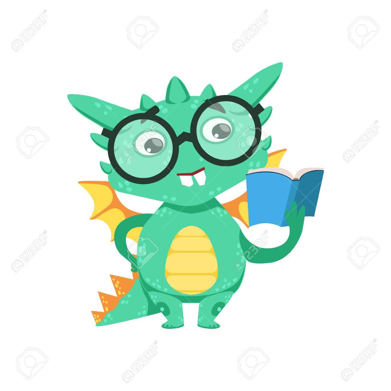 Petit Livre D Anime Smart Bookworm Bebe Dragon Lisant Un Personnage De Dessin Anime Livre Emoji Illustration