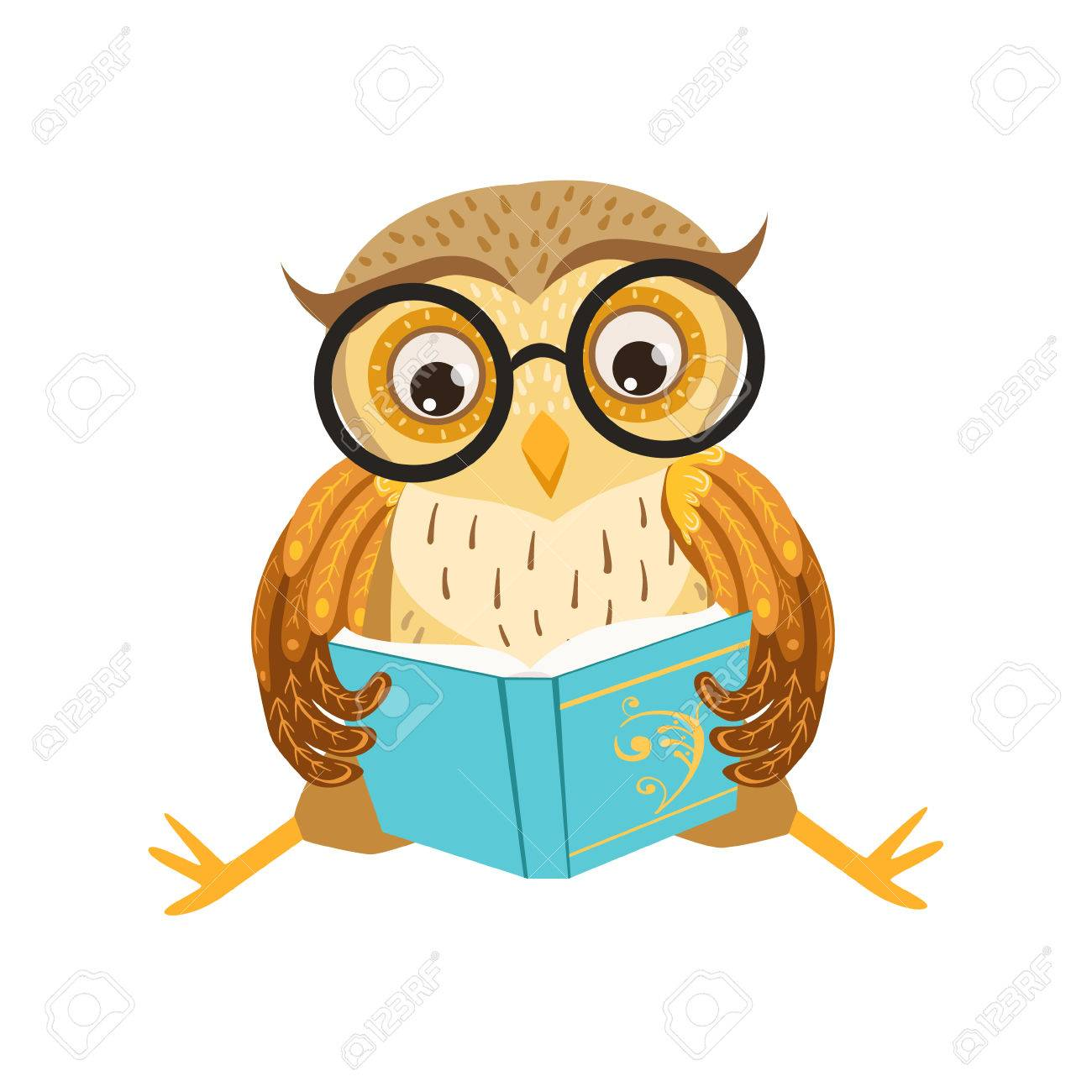 Owl Reading The Book Cute Cartoon Character Emoji With Forest