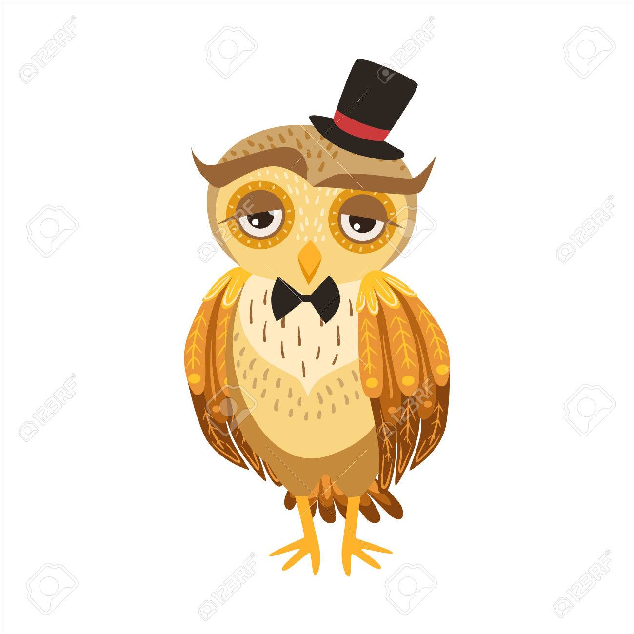 Gentleman Owl In Top Hat Cute Cartoon Character Emoji With Forest