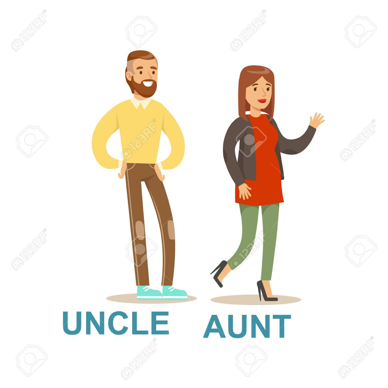 uncle and aunt happy family having good time together illustration
