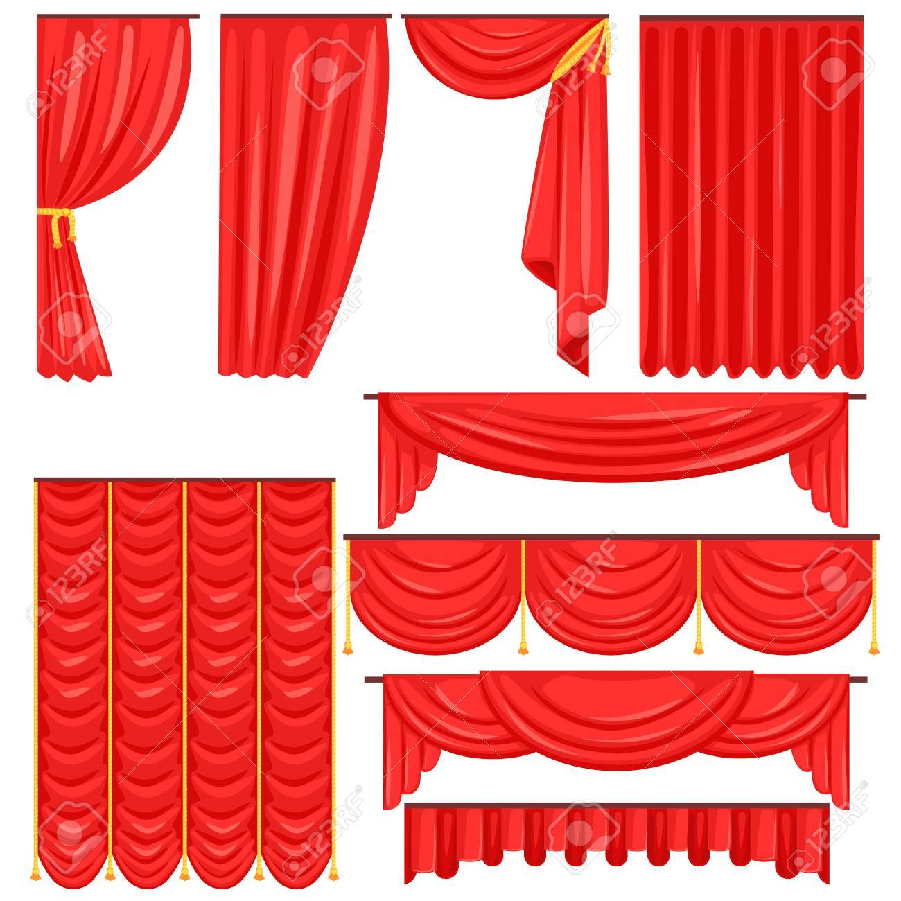 Verschiedene Arten Von Theaterbuhnenvorhang Und Gardinen In Red