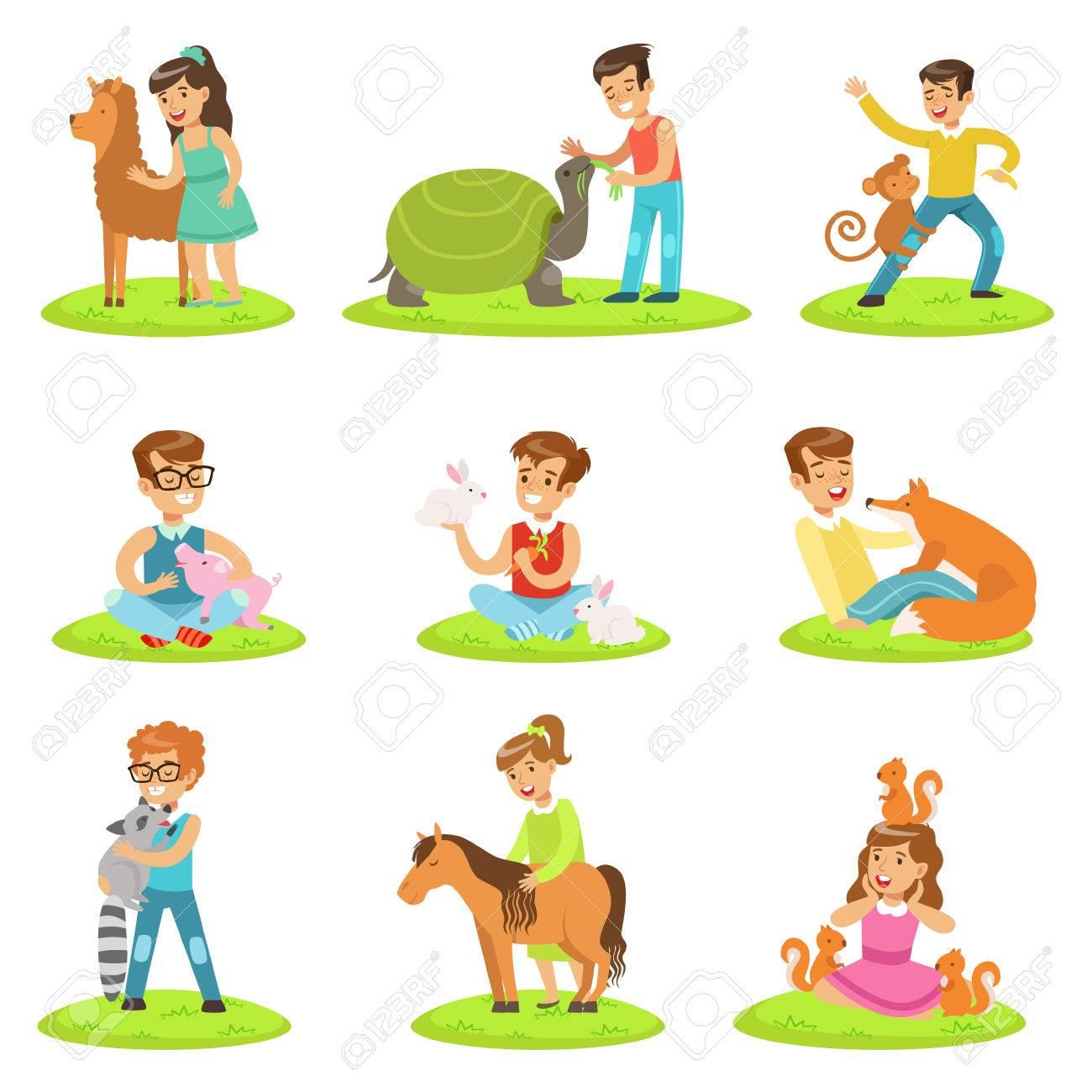 子供のふれあい動物園子供たち楽しんで漫画イラスト集で小動物を