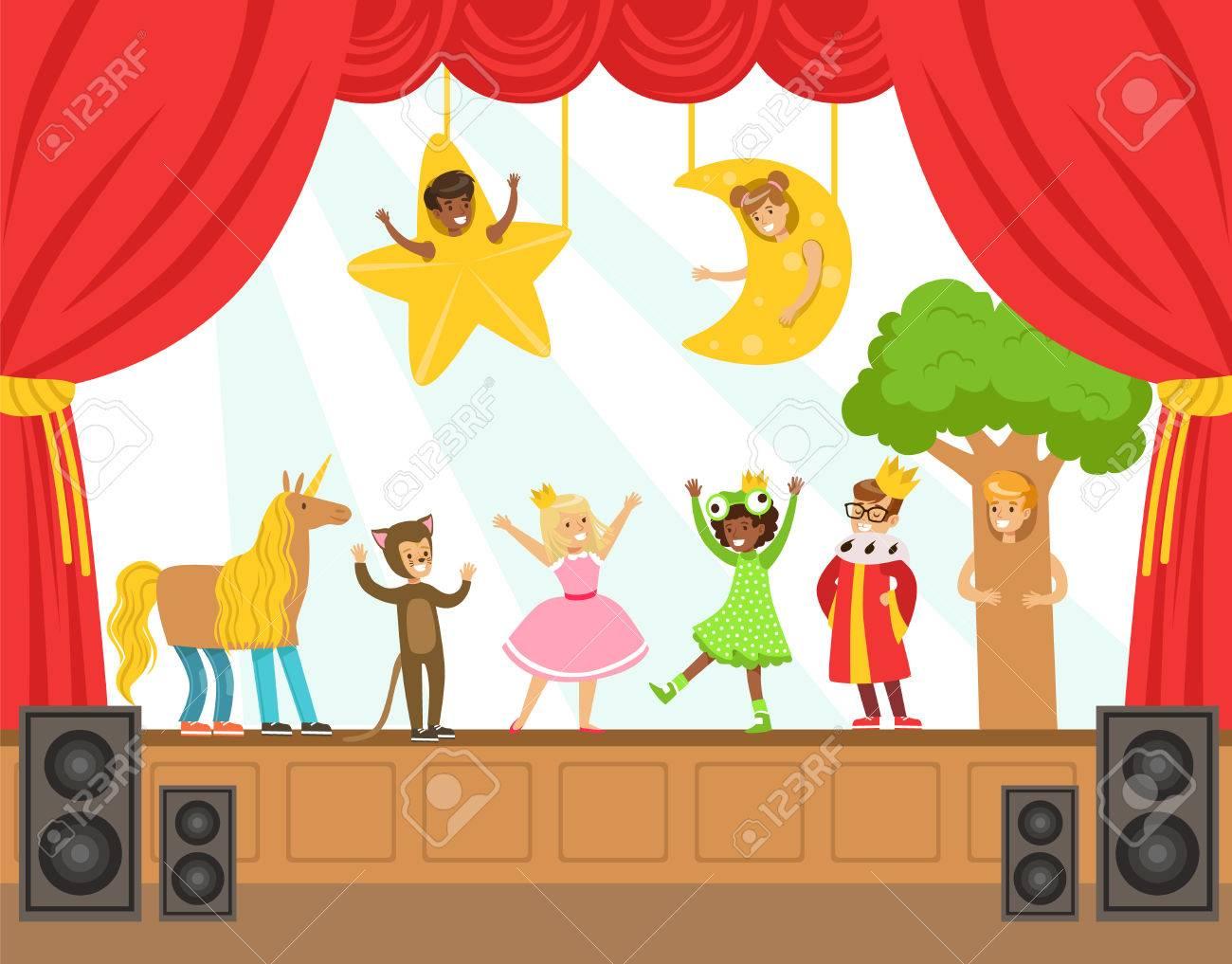 Schauspieler Kinder Darstellende Marchen On Stage Talent Show Bunte Vektor Illustration Mit Talentierte Schulkinder