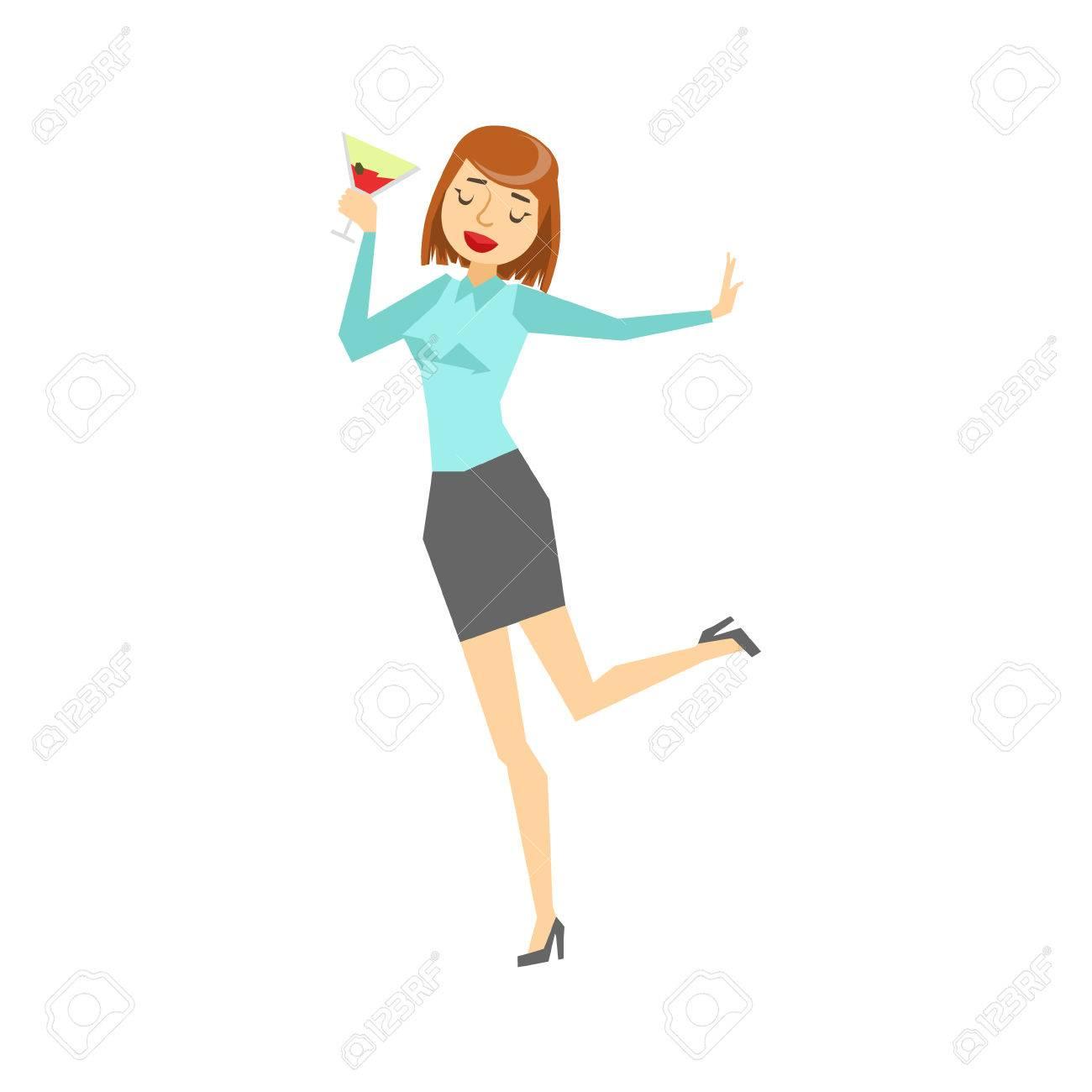 Woman In Vêtements De Bureau Et De La Danse Verre à Vin, Partie De ...
