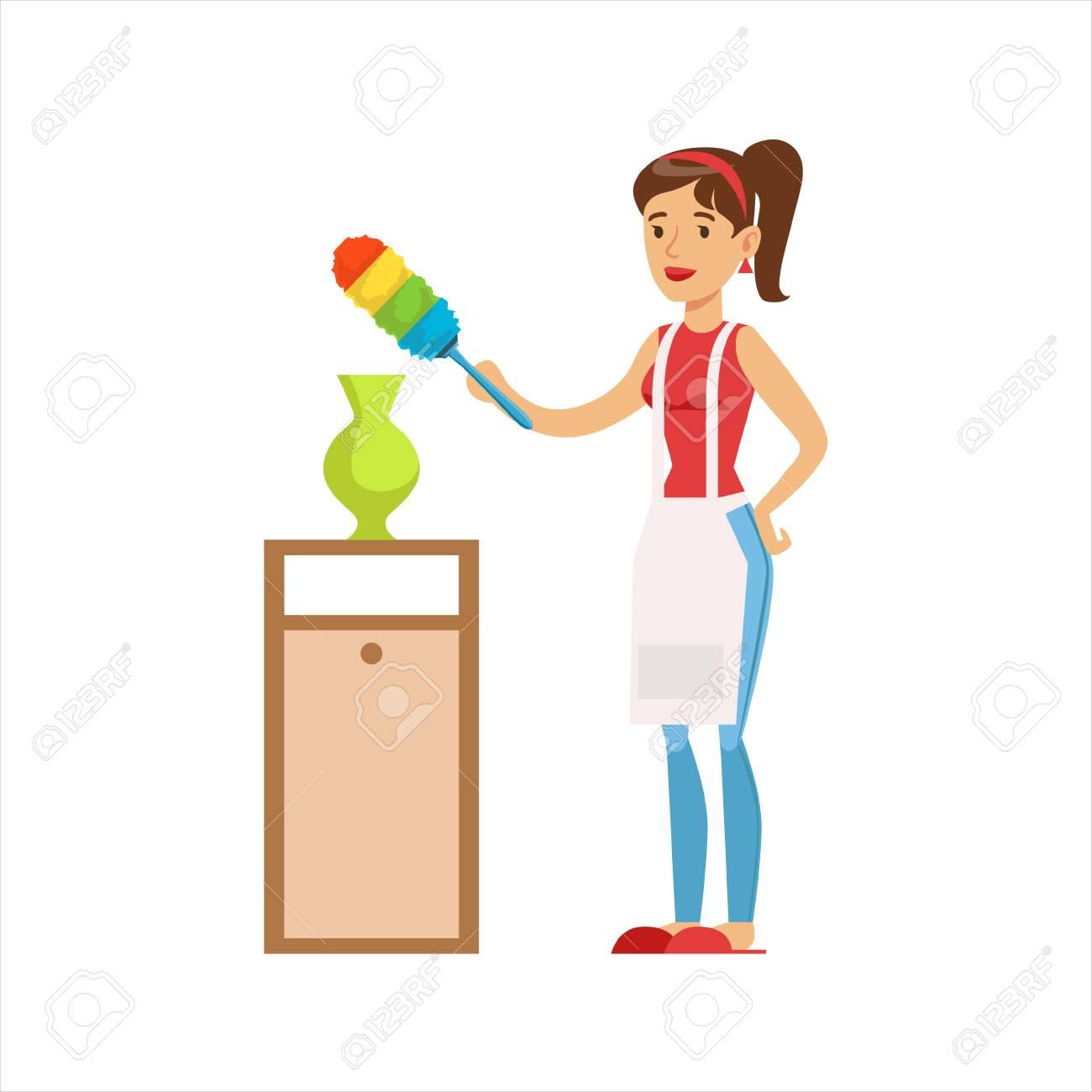 Mujer Ama De Casa Limpiando El Polvo Del Florero Con Pincel Servicio Doméstico Clásico De La Ilustración De La Esposa Que Se Queda En Casa Ilustraciones Vectoriales Clip Art Vectorizado Libre De