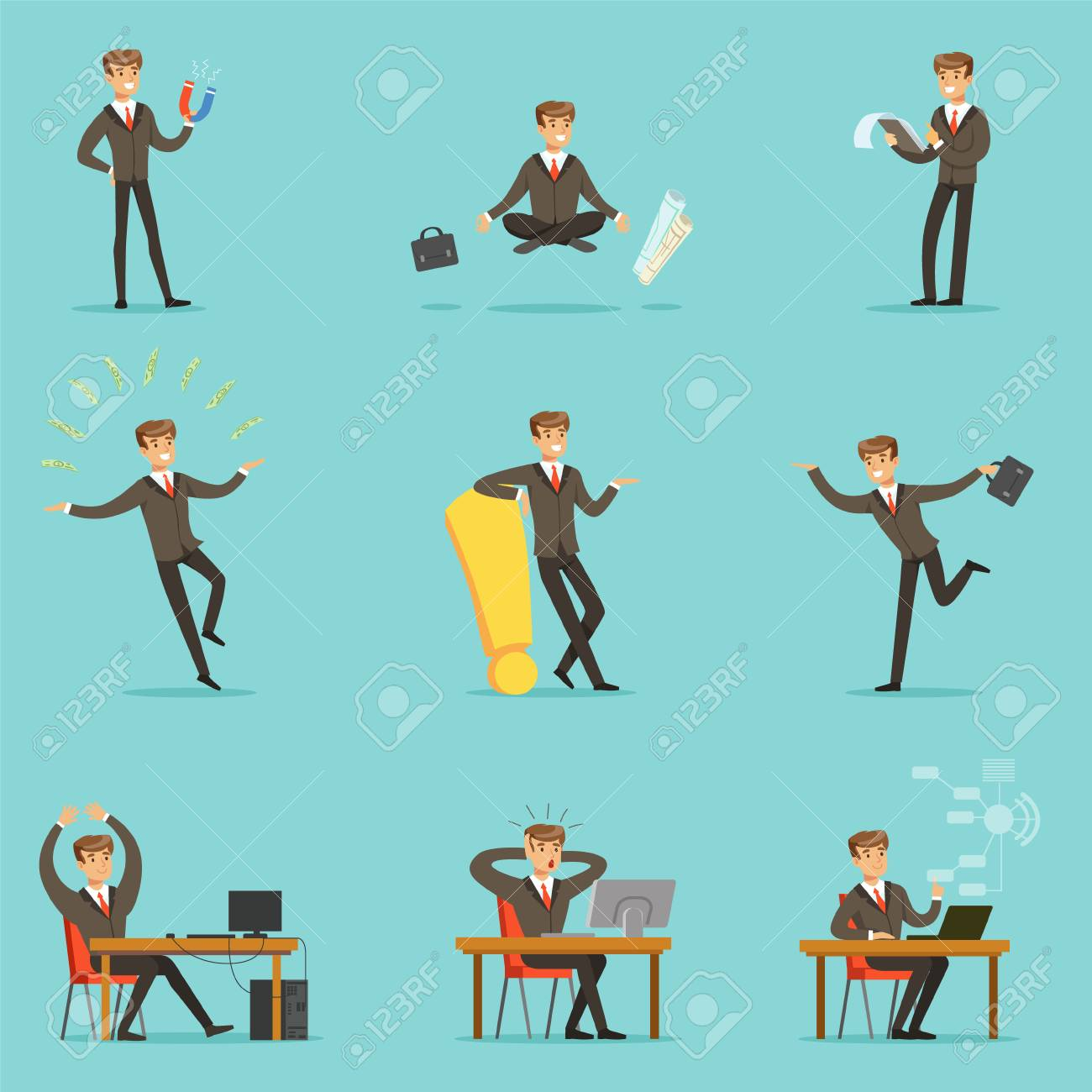 Businessman Work Process Series Of Business Related Scenes With Young Entrepreneur Cartoon Character - 70385193