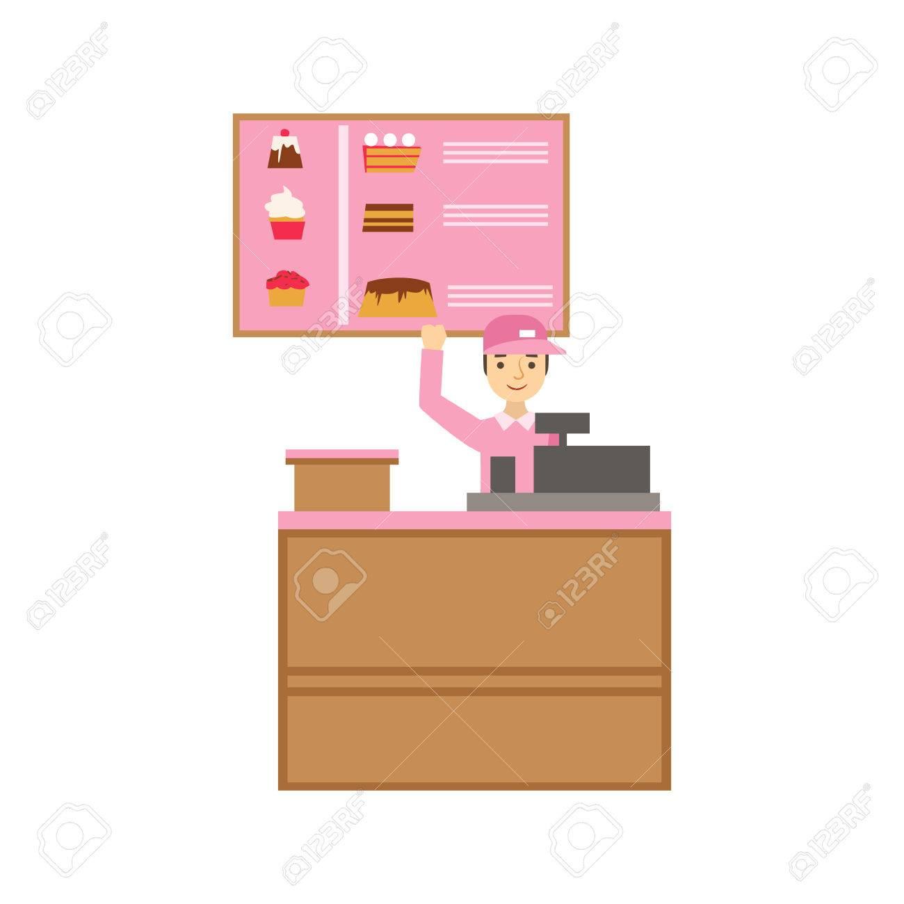 Arbeiter In Der Rosa Uniform Mit Kassen  Und Kuchen Sortiment Menü, Lächeln  Person Ein