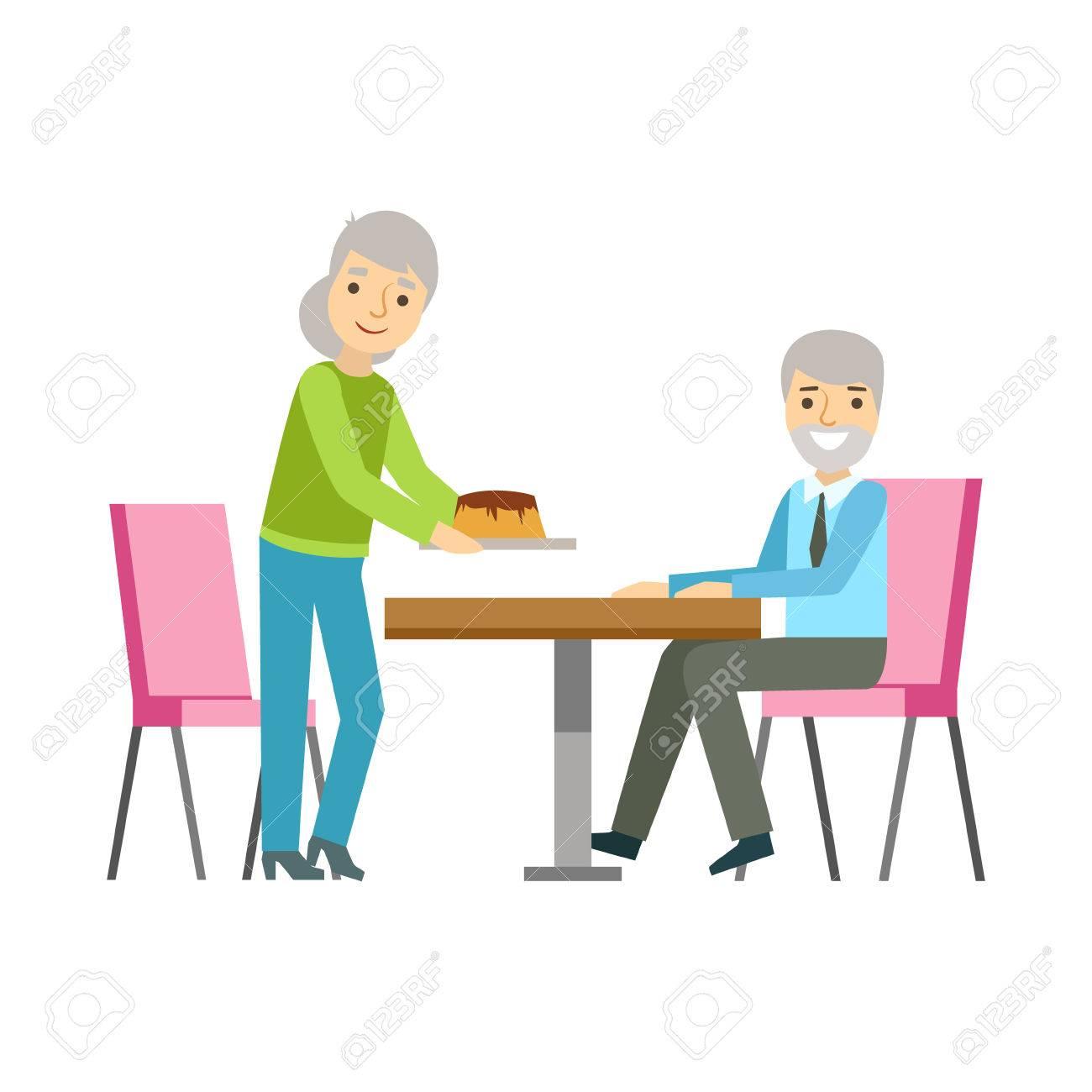 Entzuckend Alte Paare, Die Kuchen Essen Am Tisch, Person Lächeln Ein Dessert In Süßen  Gebäck