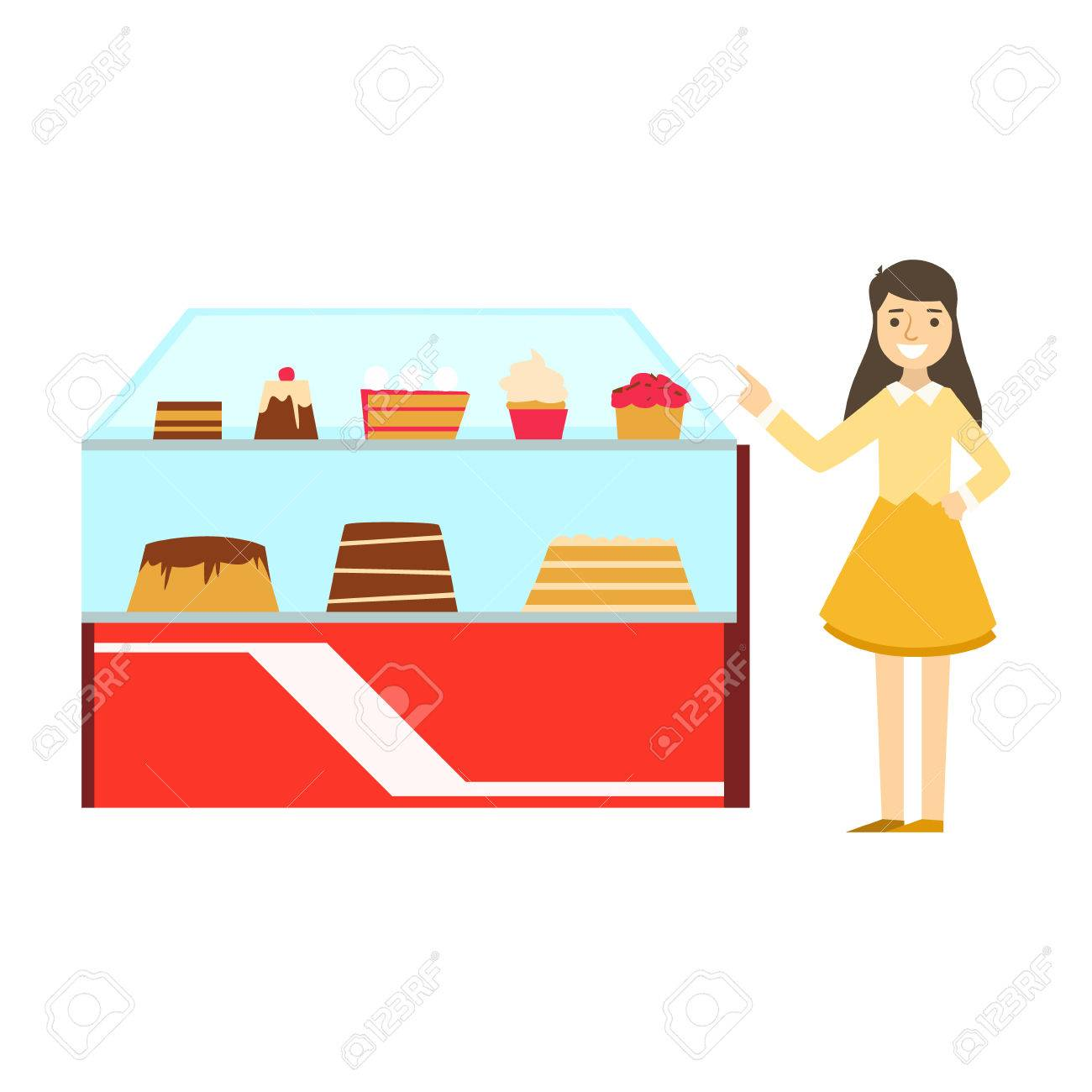 Gut Frau Neben Schaukasten Mit Kuchen Sortiment, Lächeln Person Ein Dessert In  Süßen Gebäck Cafe Vector