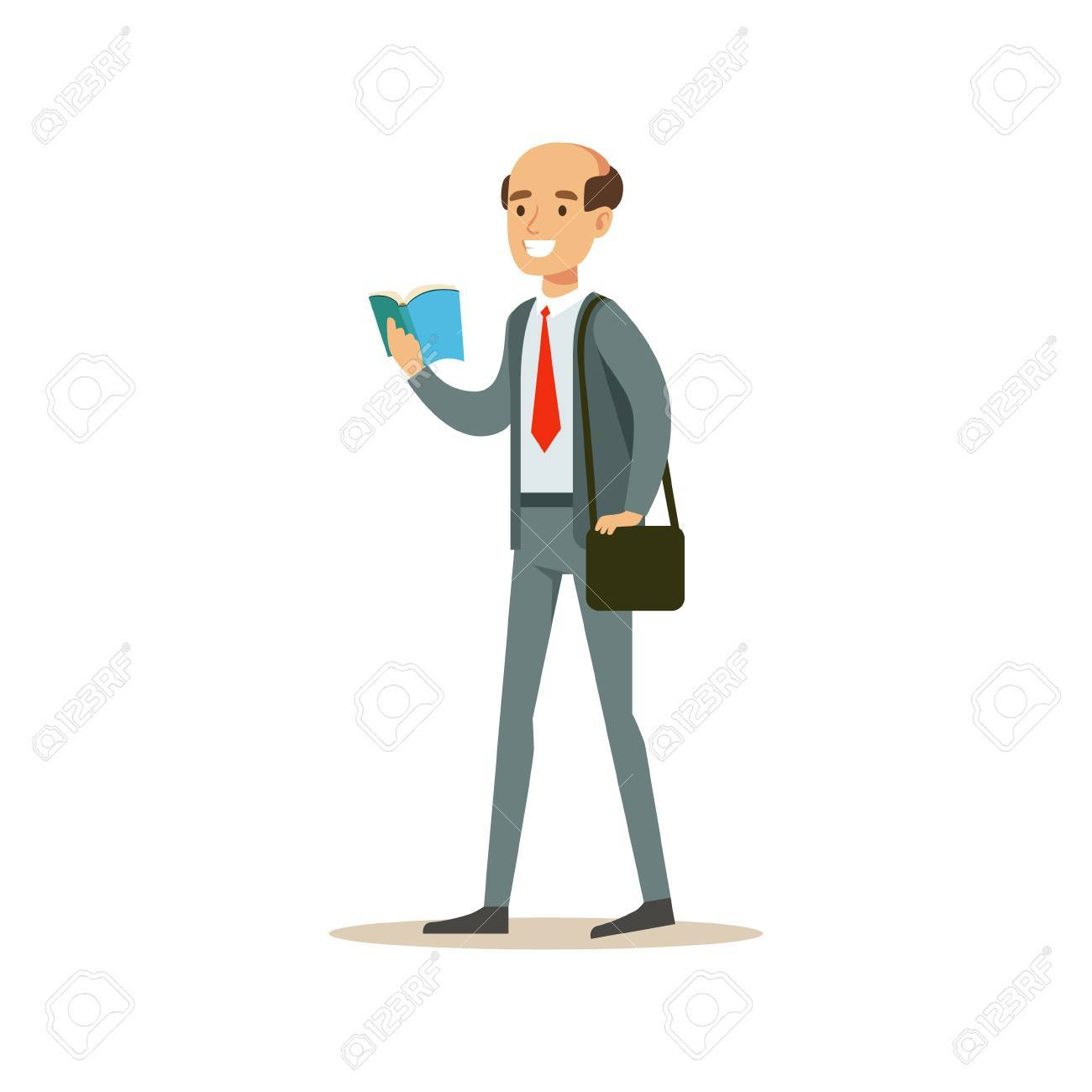 Bold Man Teacher Walking Reading A Book Smiling Person In The