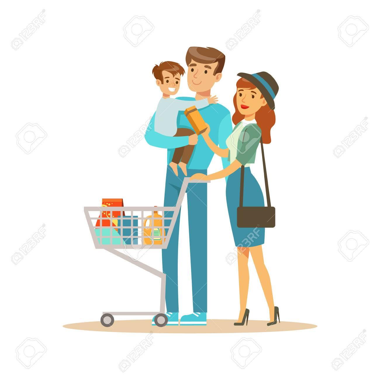 Dessin Shopping famille blanche avec panier shopping dans le magasin, personnage de