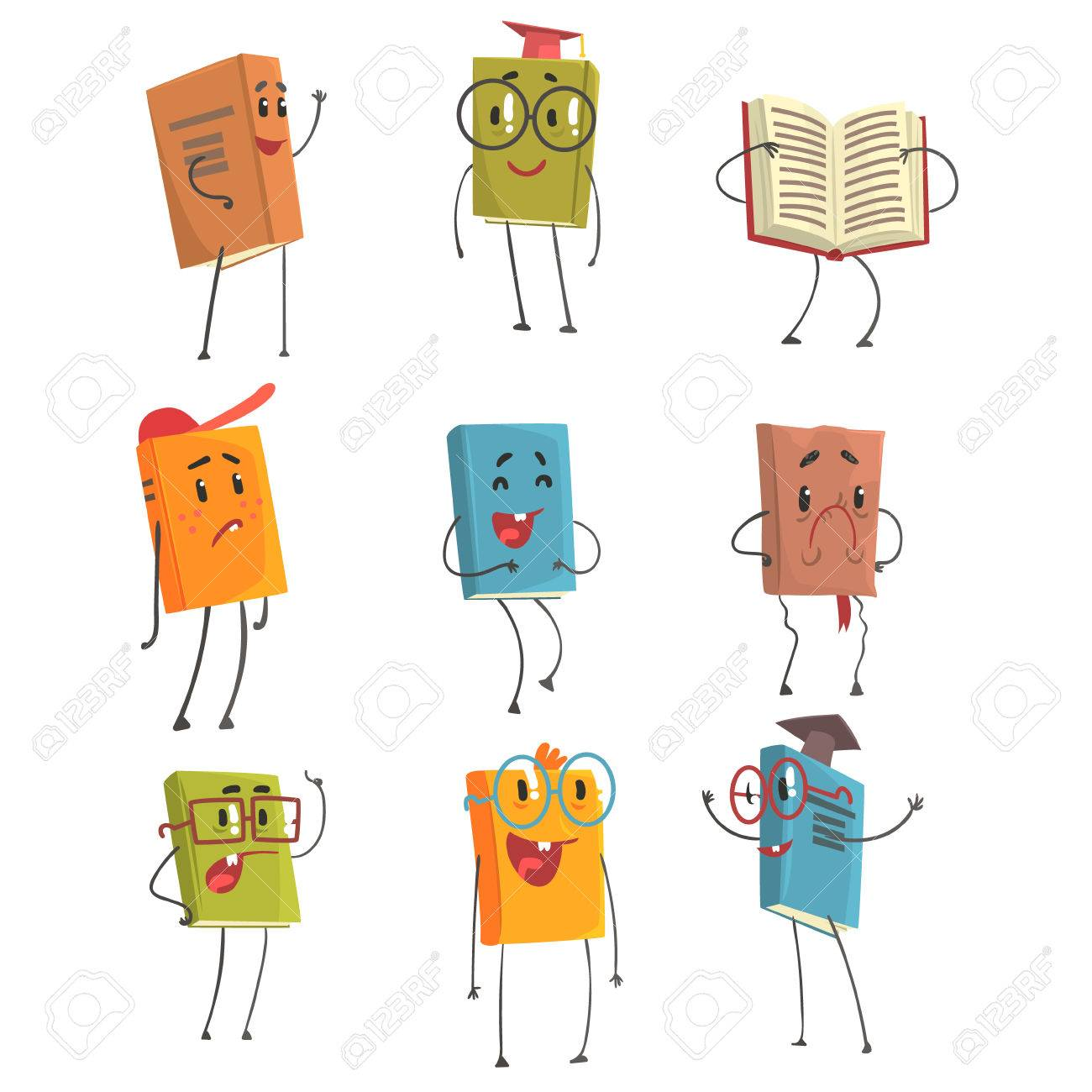 Caracteres Humanise Livre Emoji Mignon Representant Differents Types De Litterature Les Enfants Et Les Livres Scolaires