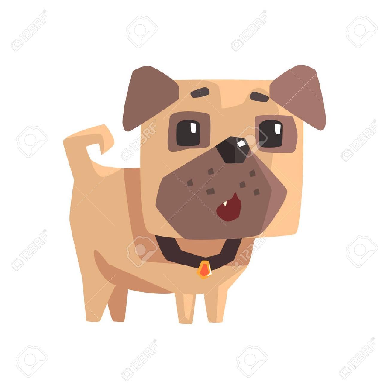 Astonished Little Pet Pug Dog Puppy With Collar Emoji Cartoon