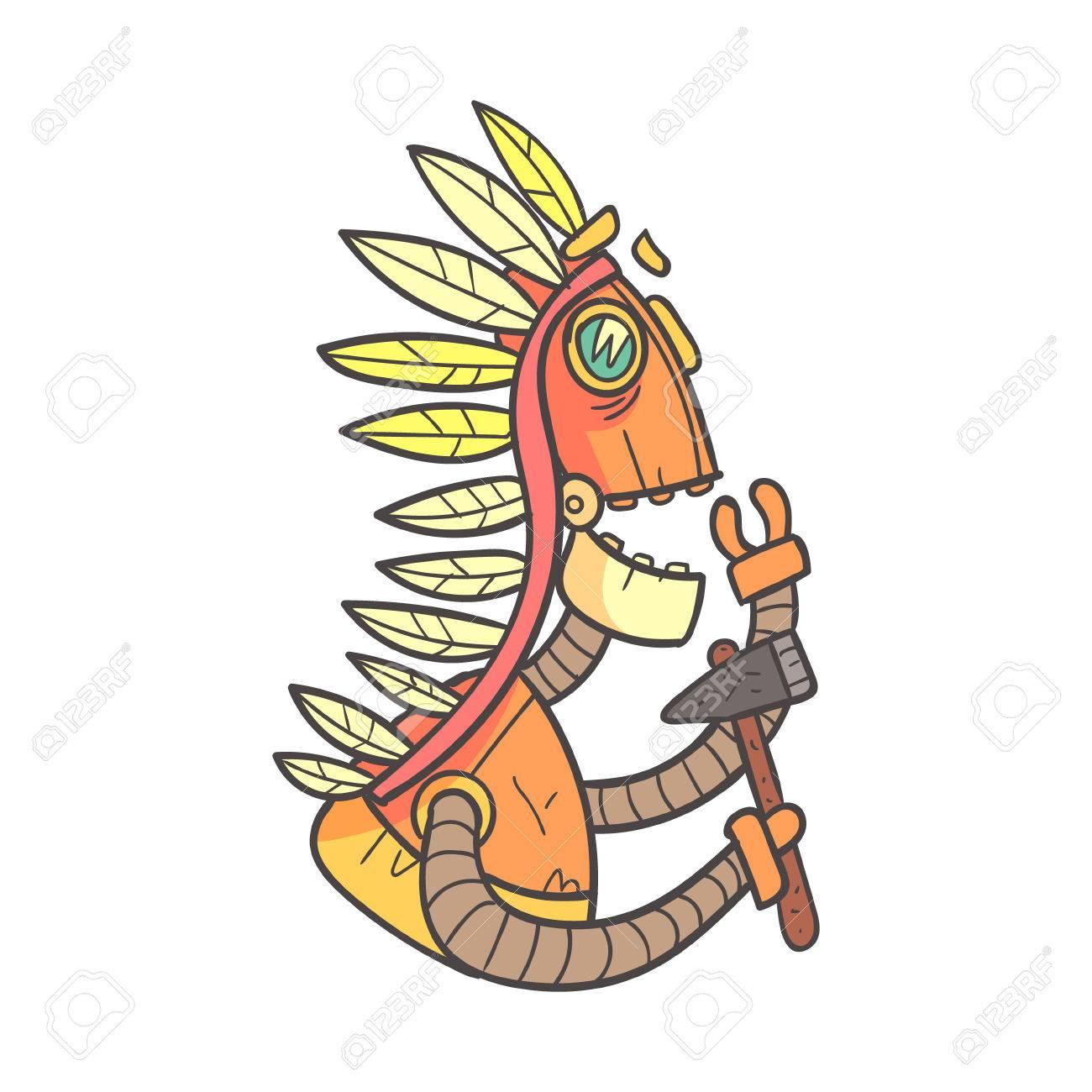 Indian Orange Robot In War Bonnet With Tomahawk Cartoon Stock Photo