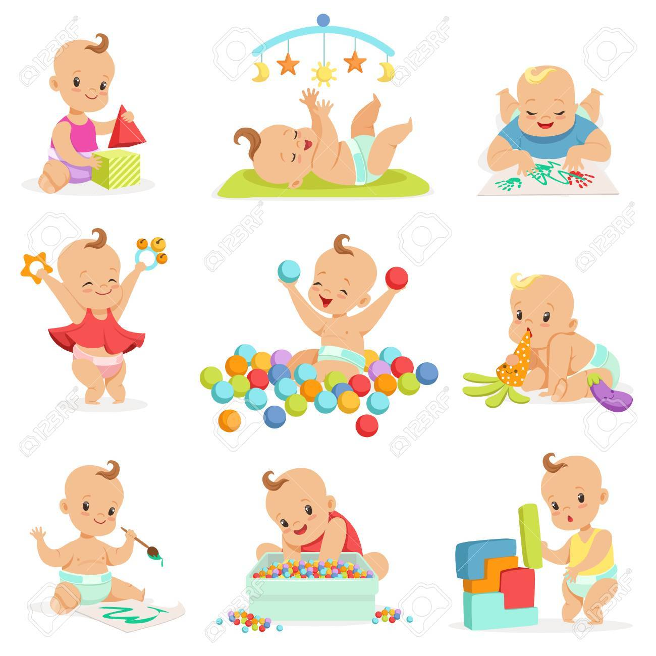 Adorable Girly Cartoon Babies Playing With Their Stuffed Toys And Development Tools Series Of Cute Happy