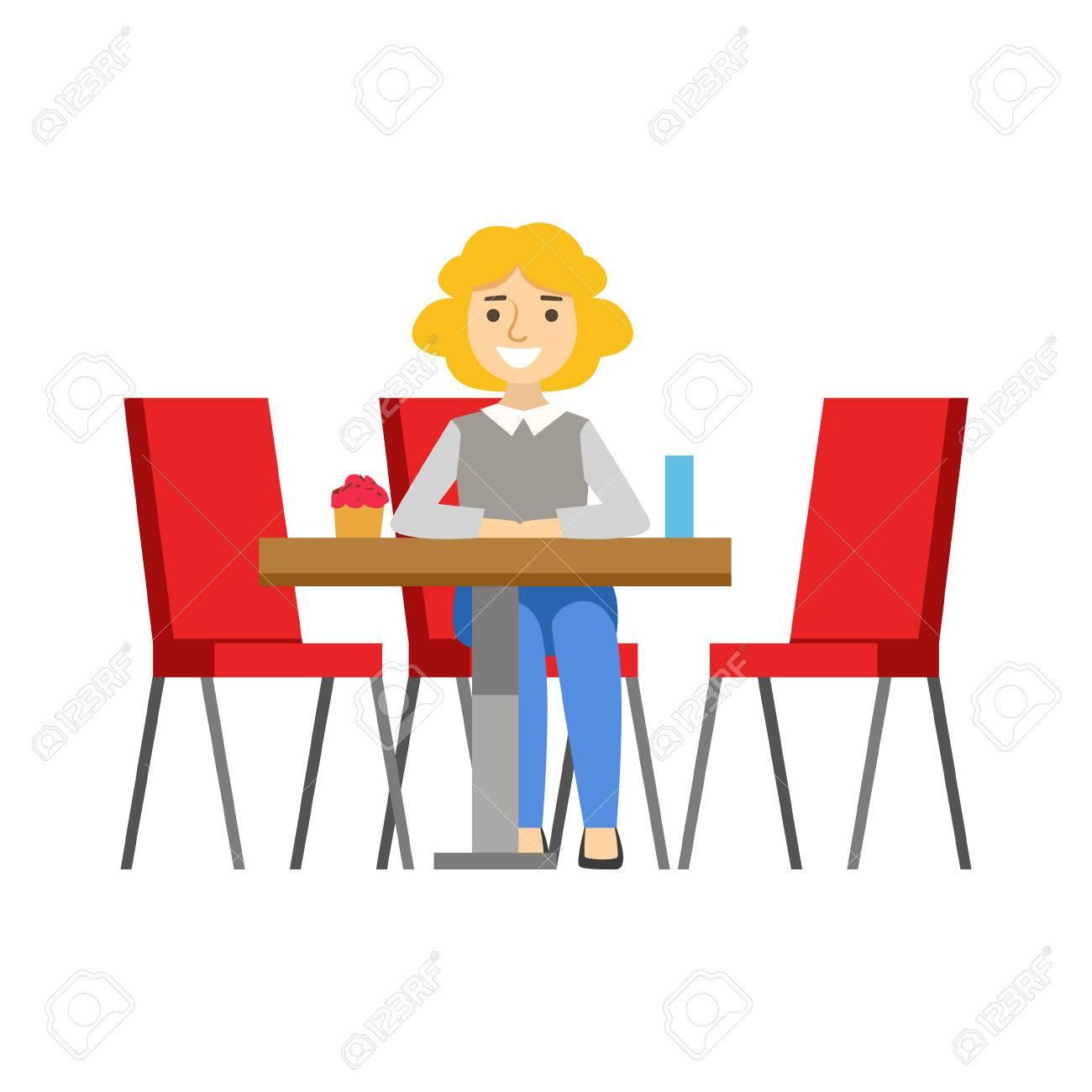 Elegant Frau Allein Am Tisch Essen Kuchen, Person Lächeln Ein Dessert In Süßen  Gebäck Cafe Vector