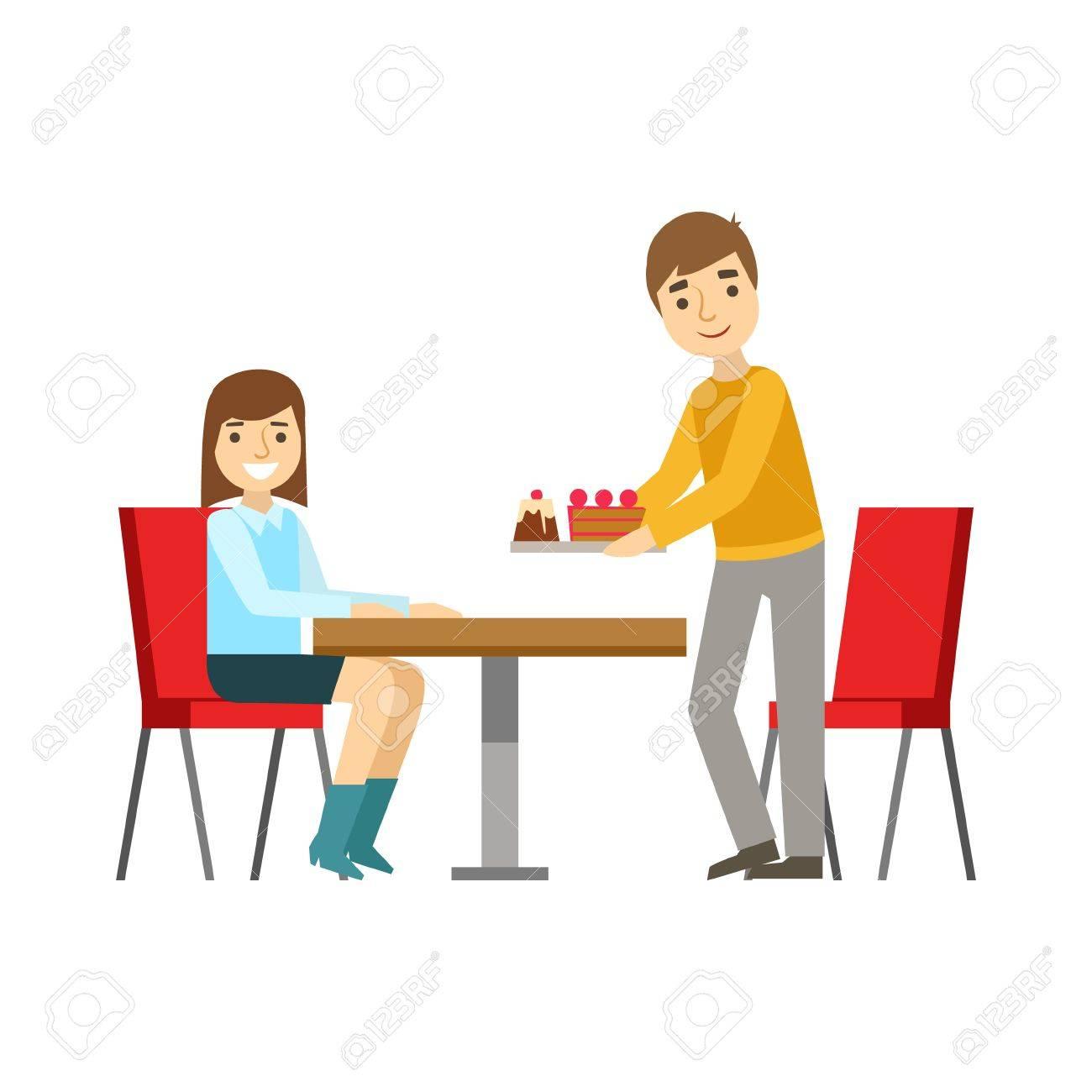 Guy Briniging Kuchen Zum Mädchen Am Tisch, Lächeln Person Ein Dessert In  Süßen Gebäck Cafe