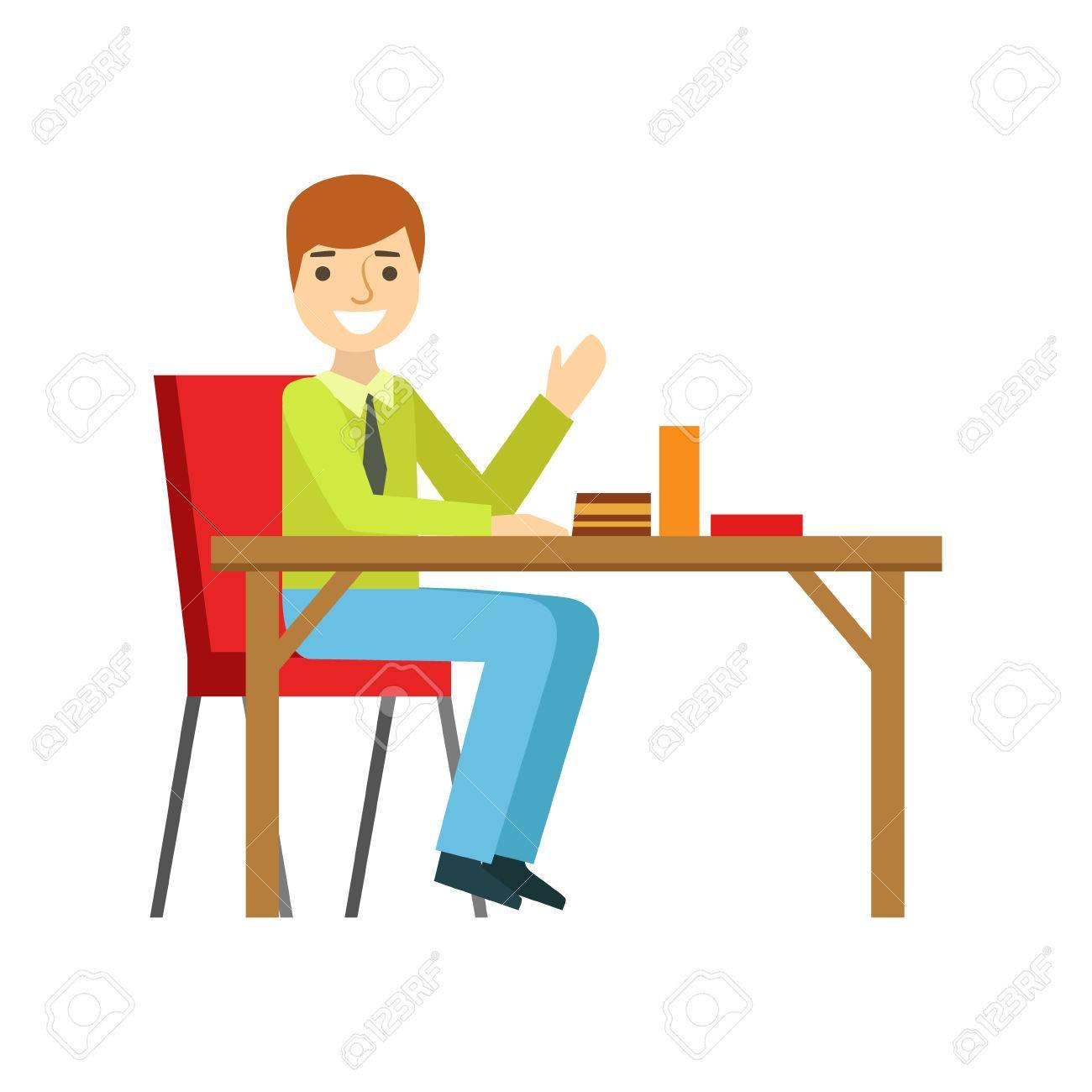 Man Allein Am Tisch Essen Kuchen, Person Lächeln Ein Dessert In Süßen  Gebäck Cafe Vector