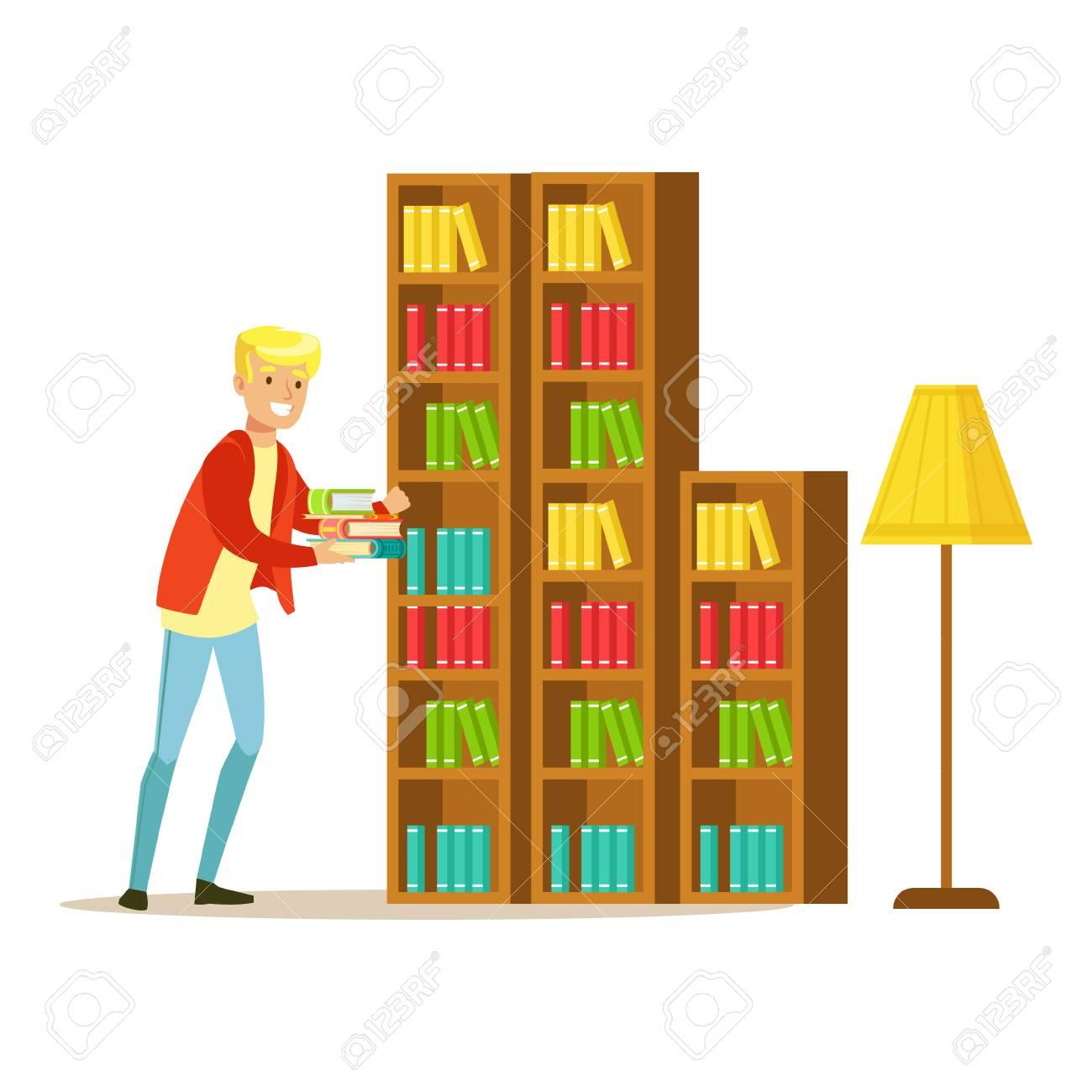 Mn Collecte Les Livres De La Bibliotheque Personne Souriante Dans
