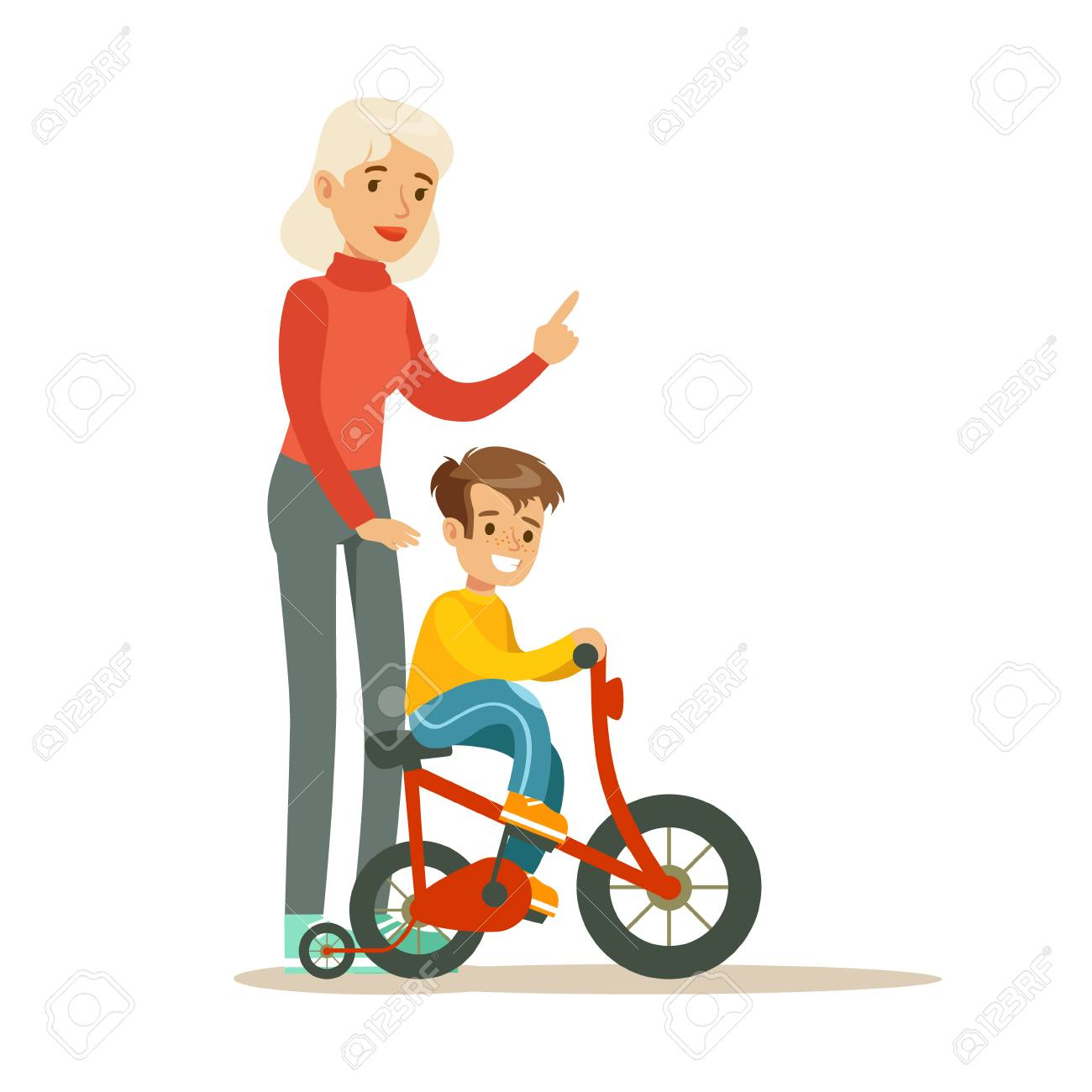 grandmother teaching boy to ride bicycle part of grandparents