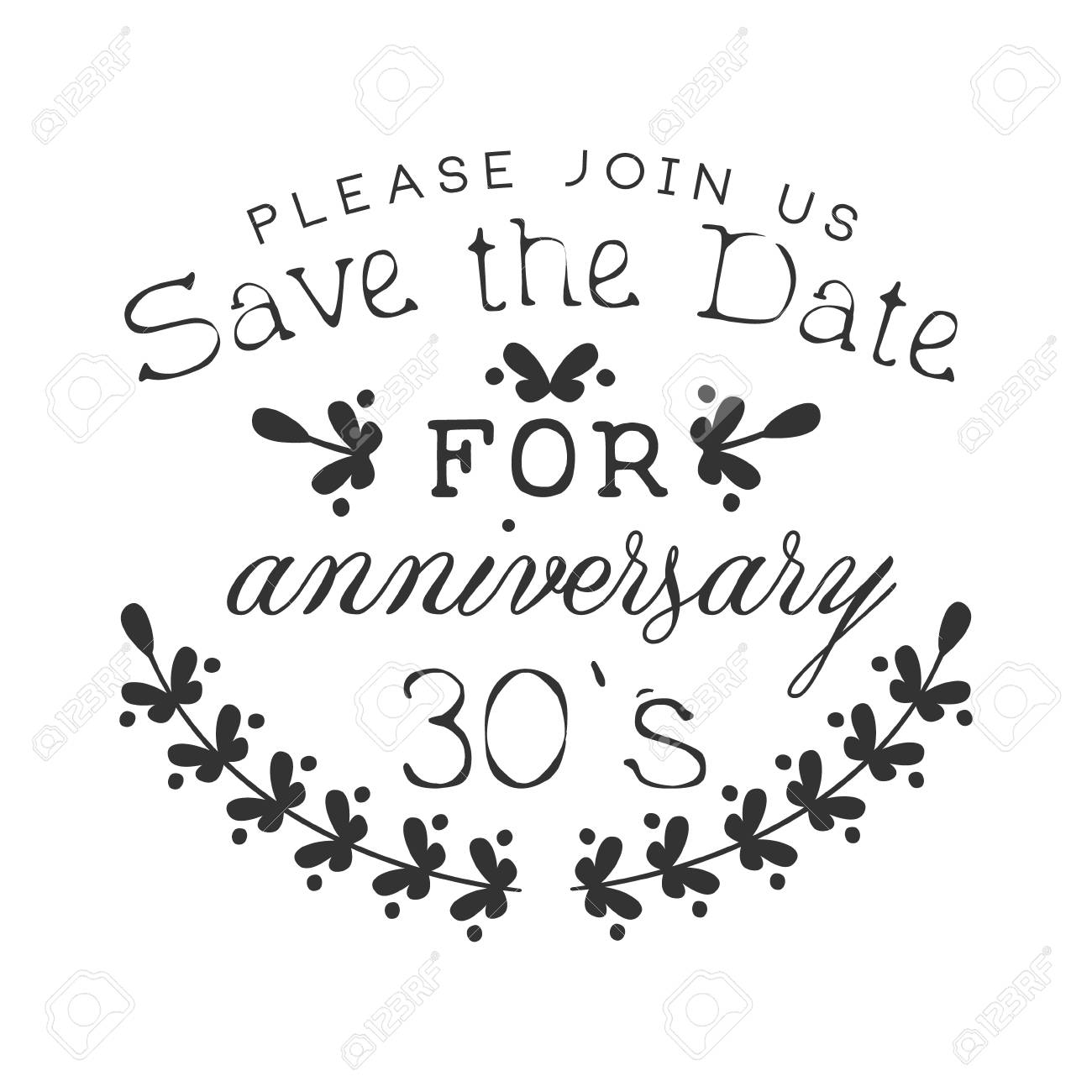 Wedding Anniversary Party Black And White Invitation Card Design