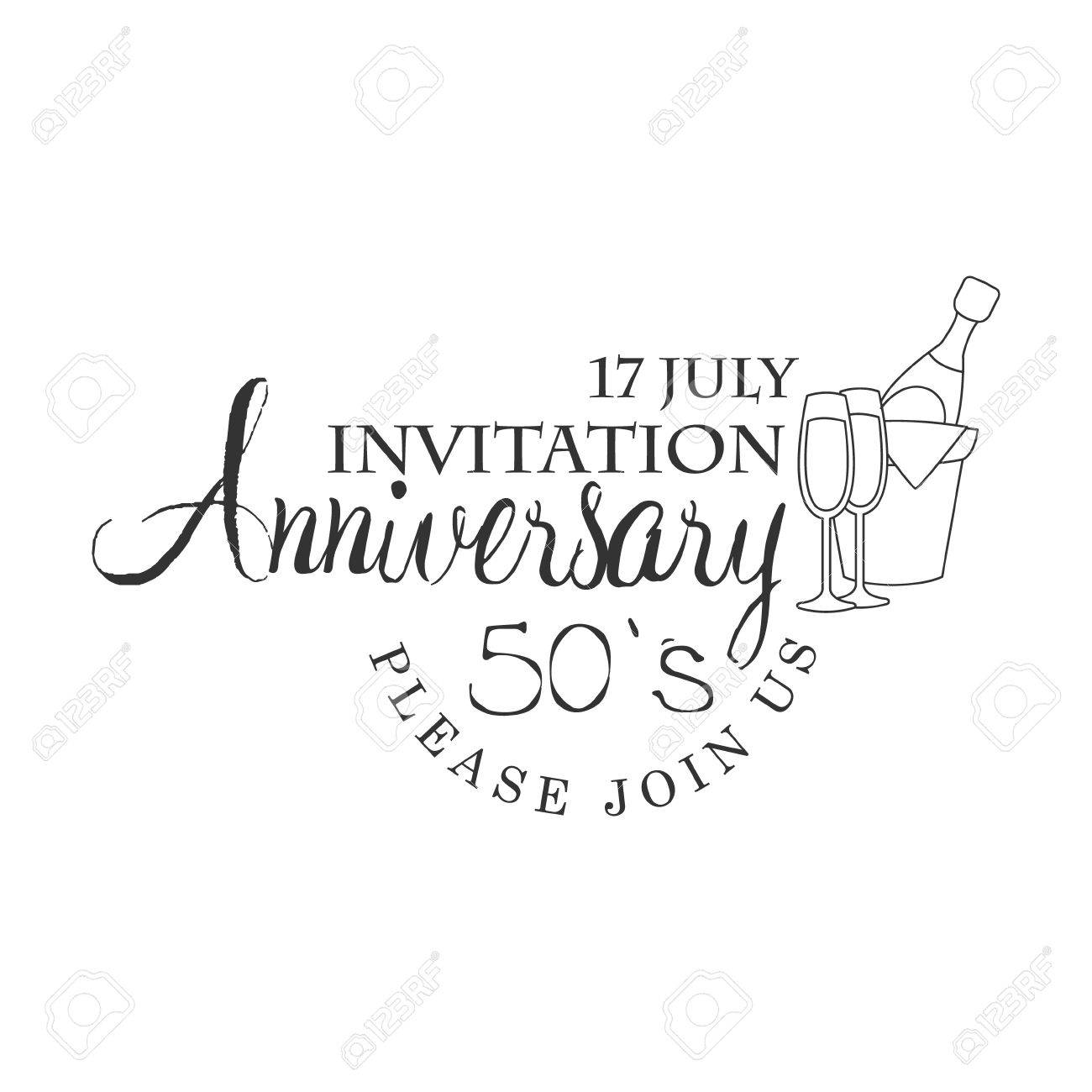 Fifty Years Anniversary Party Black And White Invitation Card