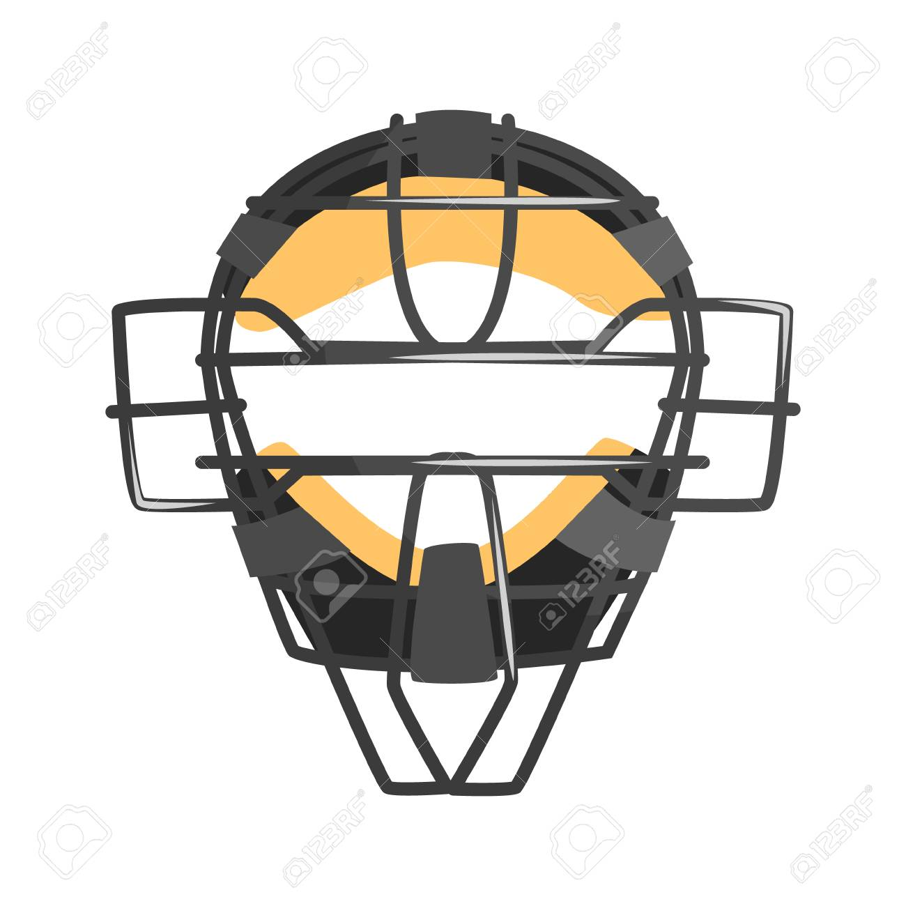 Metal Wire Face Protection Catcher Mask Part Of Baseball Player
