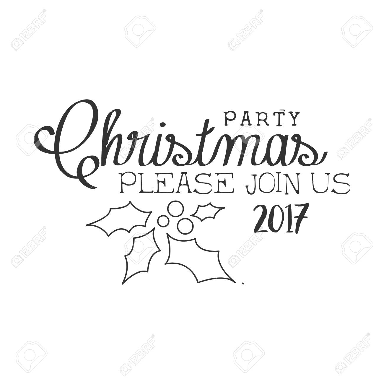 2017 christmas party black and white invitation card design template
