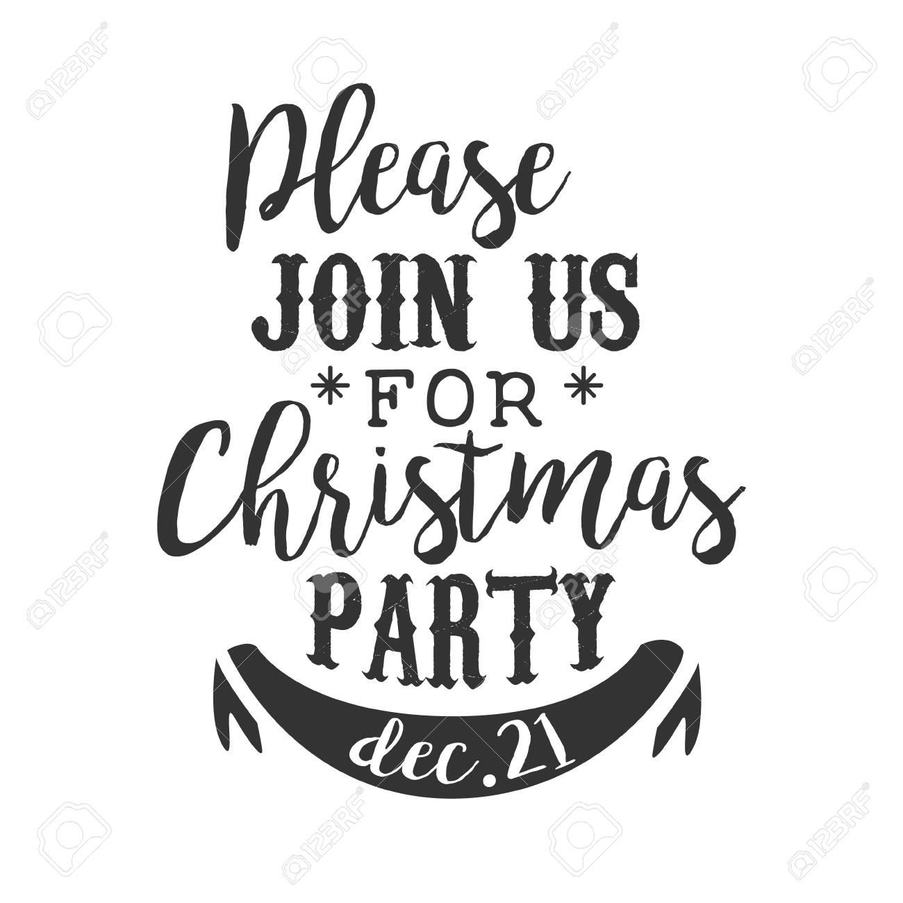 Fiesta De Navidad En Blanco Y Negro Plantilla De Diseño De Tarjeta De Invitación Con Texto Caligráfico