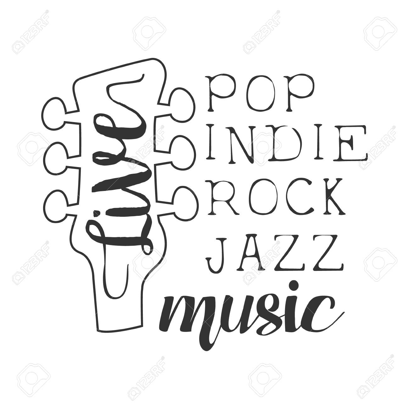 Pop, Rock, Indie, Jazz Live Music Concert Black And White Poster With Calligraphic Text And Guitar Headstock - 72268682