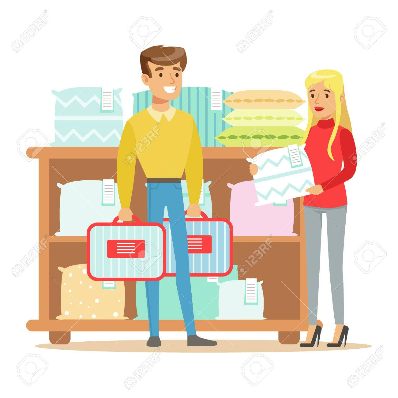 Bedroom Items. Couple Buying Bedsheets For Bedroom  Smiling Shopper In Furniture Shop Shopping House Decor Elements