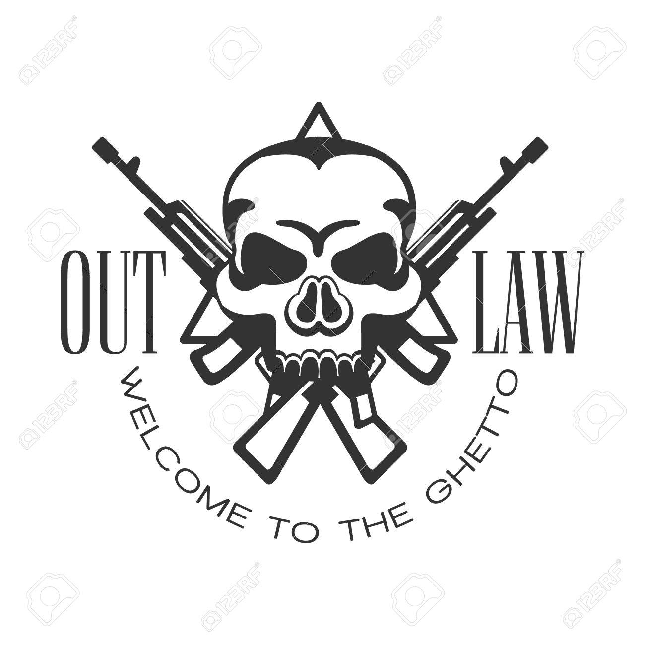 Criminal Outlaw Street Club Black And White Sign Design Template