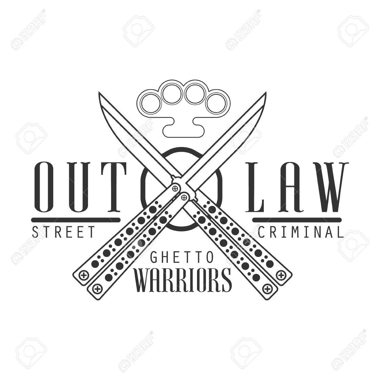 Criminal Outlaw Street Club Schwarz-Weiß-Zeichen Design-Vorlage Mit ...