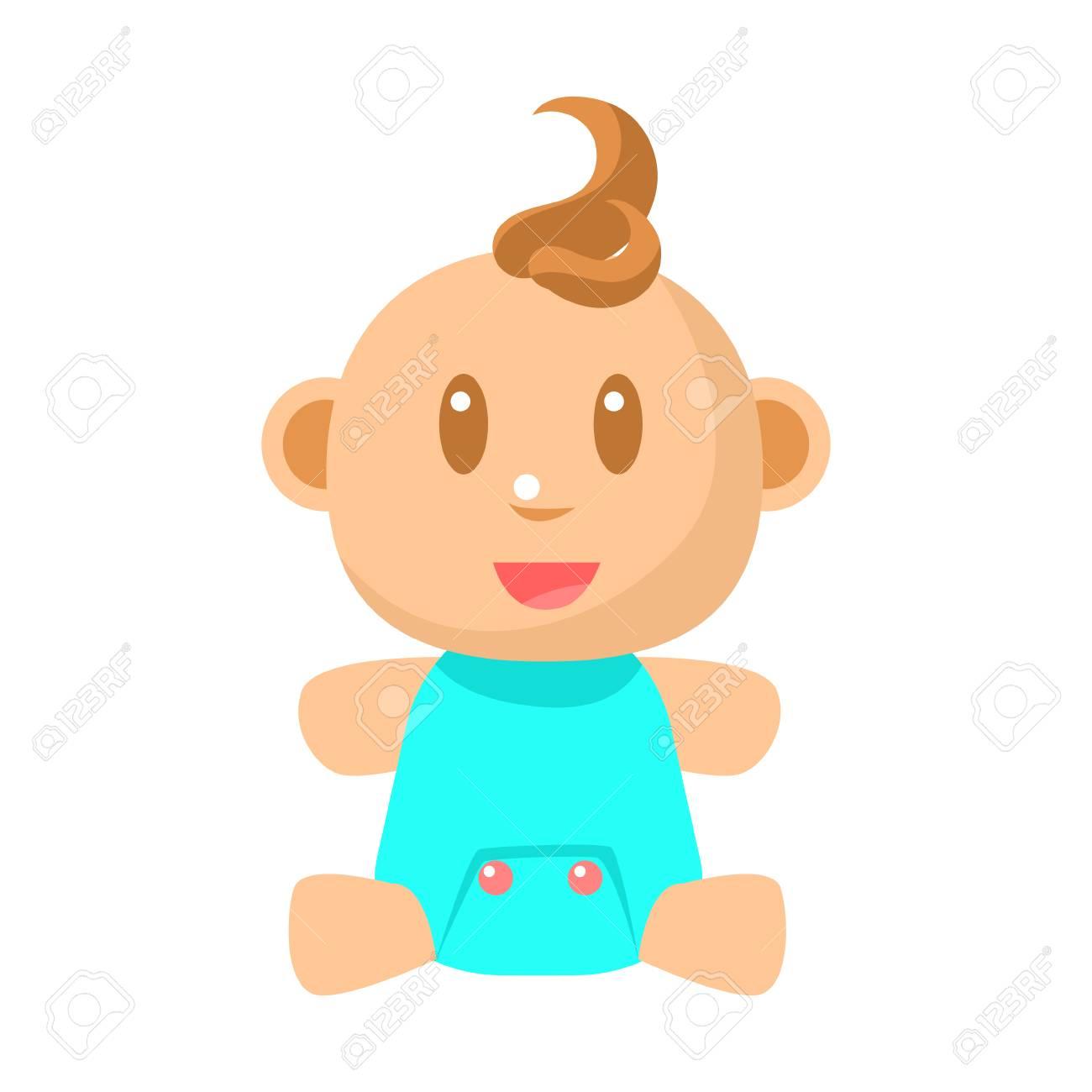 小さな幸せな赤ちゃん男の子座ってブルー布ベクトルかわいい幼児の簡単な