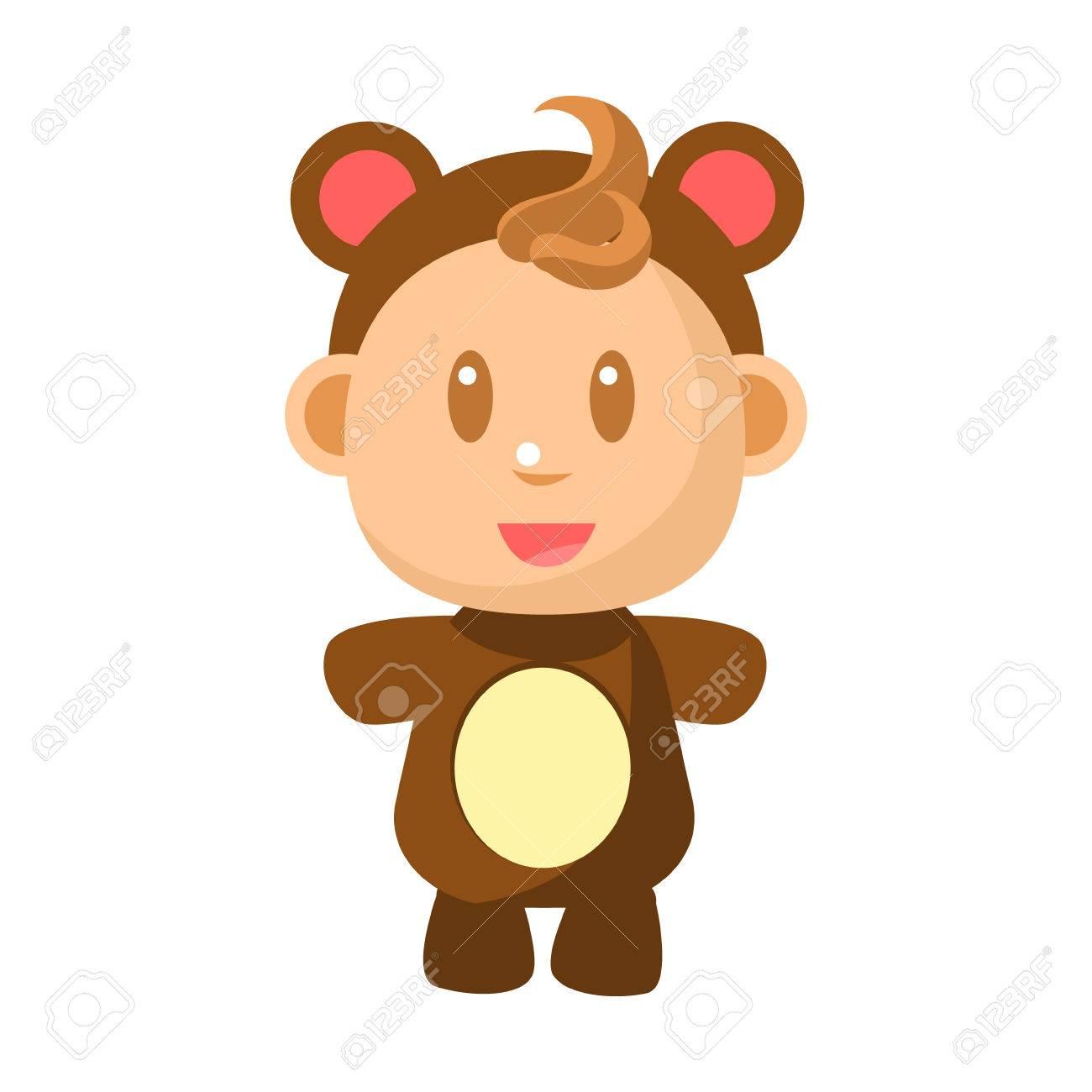 かわいい幼児コスチューム ベクトル簡単なイラストをヒグマに立って