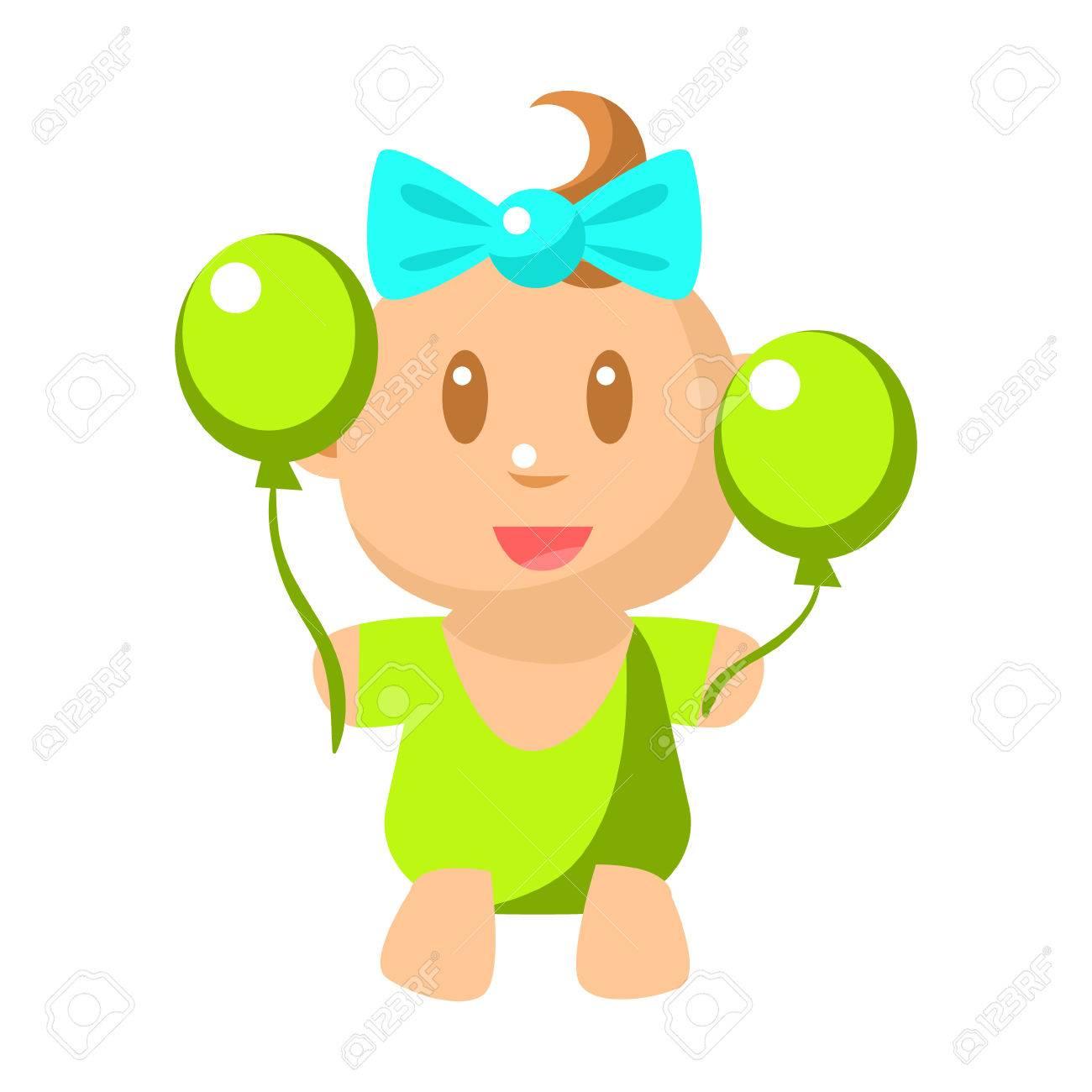 小さなハッピー ベビー女の子かわいい幼児と 2 つの風船ベクトル簡単な