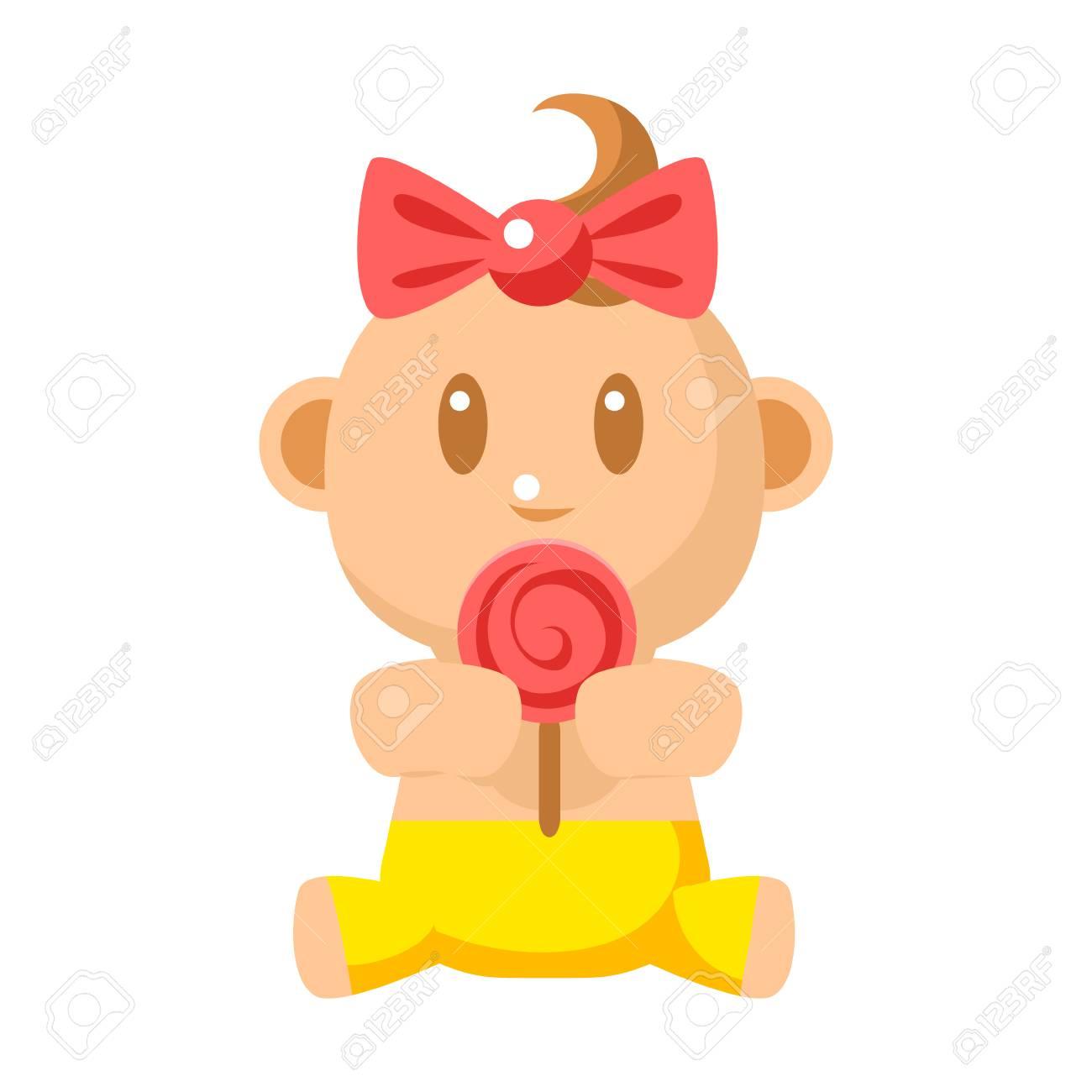黄色のパンツがかわいい幼児ロリーポップ ベクトル簡単なイラストを