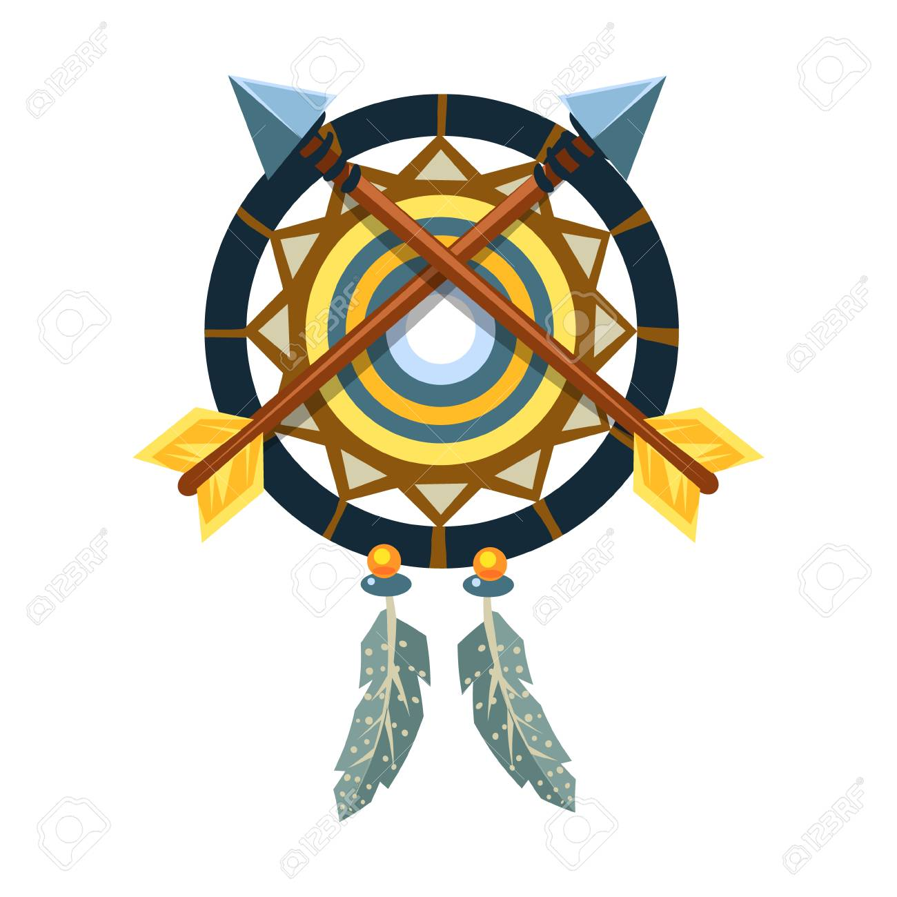 Dreamcatcher Charm With Crossed Arrows Native American Indian