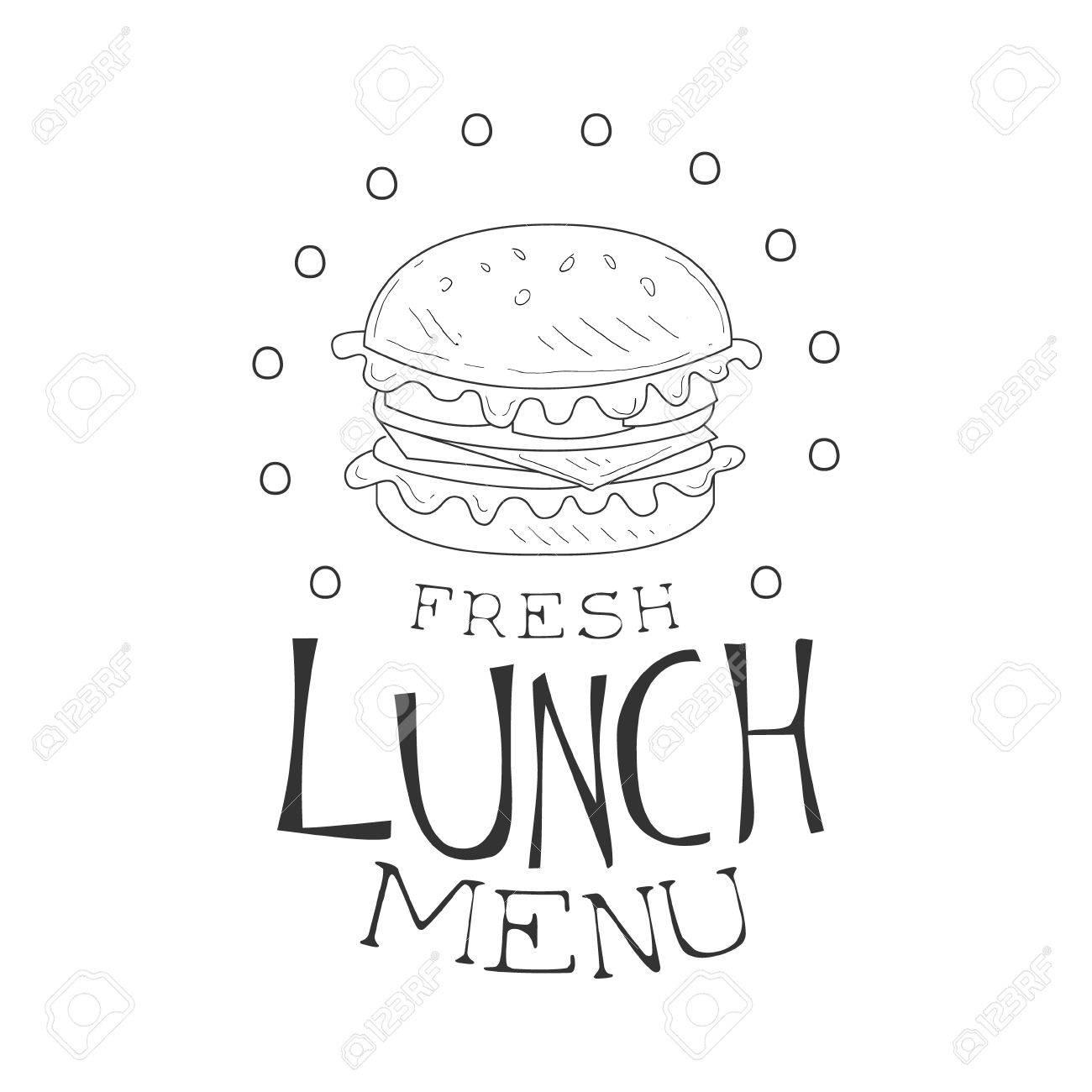 Cafe Mittagessen Menü Promo Anmelden Sketch Stil Mit Burger, Design ...