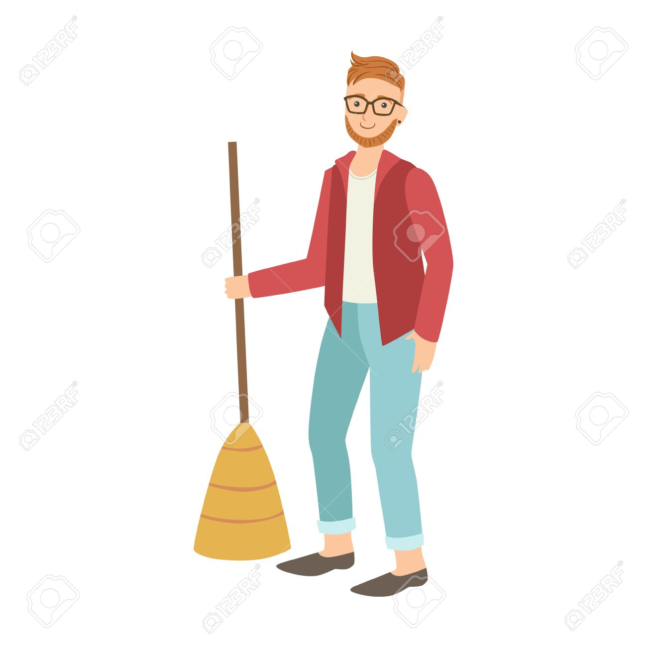Man With Broom Sweeping The Floor Cartoon Adult Characters Cleaning