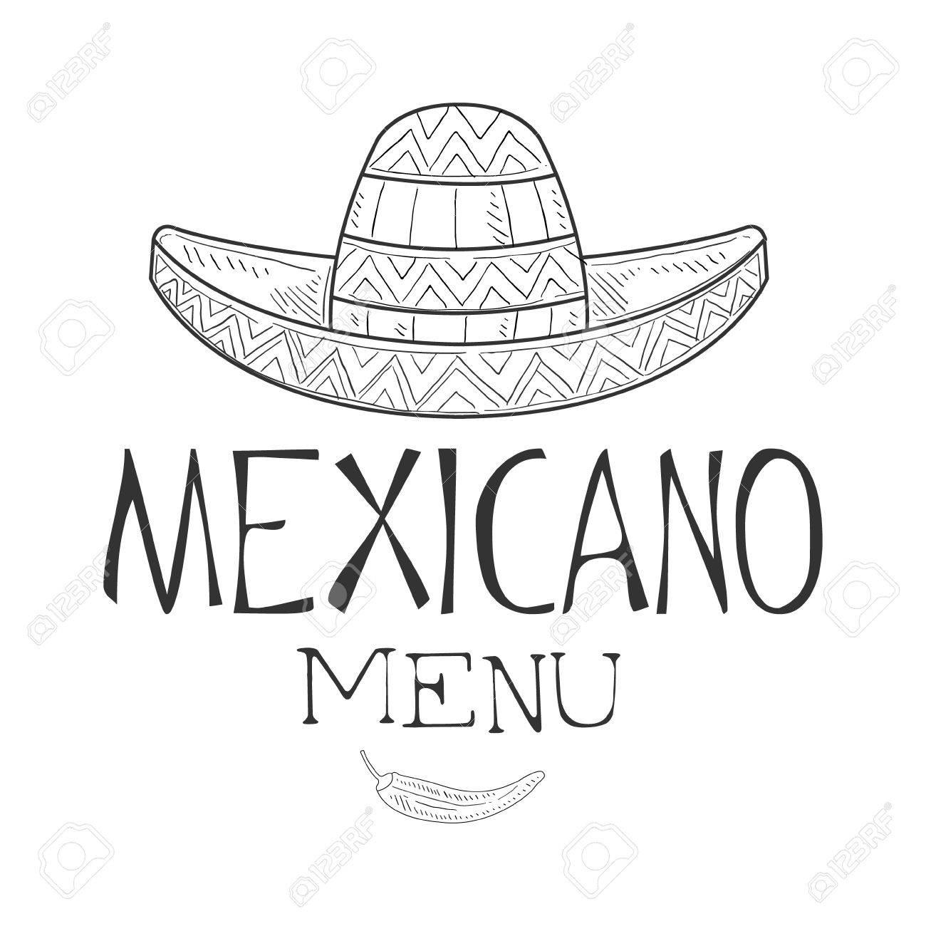 89fada9db5ac7 Foto de archivo - Restaurante Comida Mexicana Menu Promo Inicia sesión  Esbozo Estilo Con sombrero Sombrero Y Chili Pepper