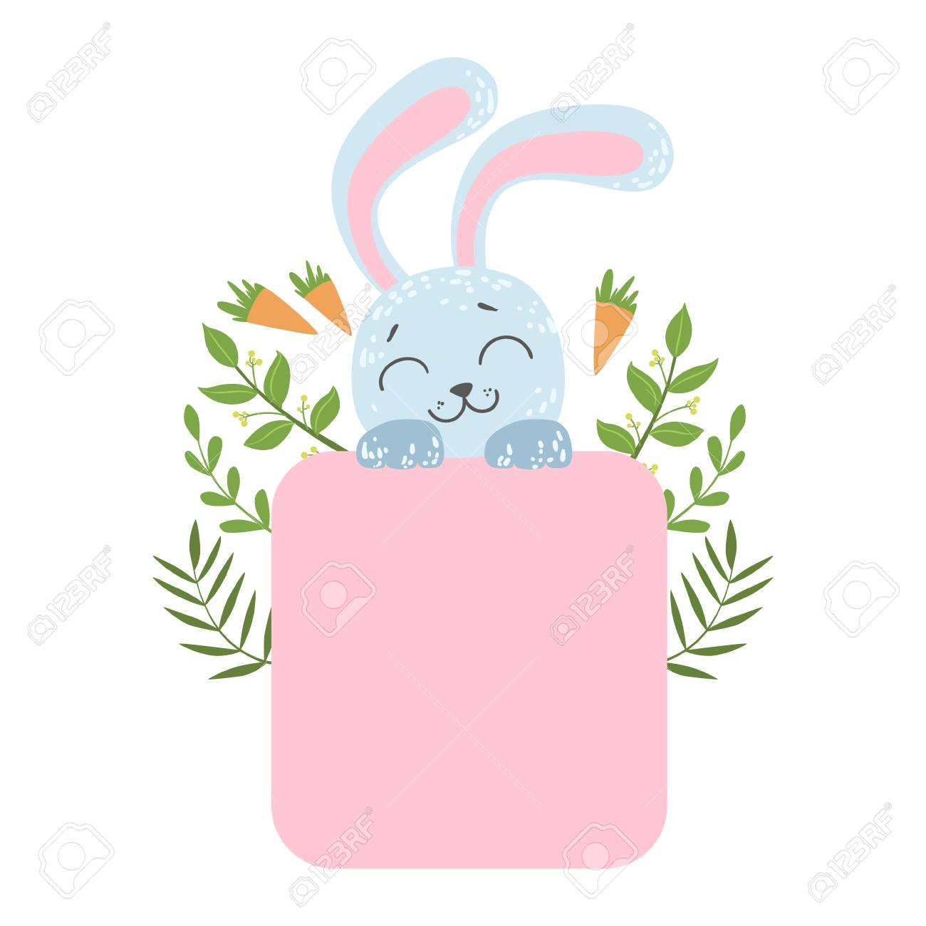 cute rabblit with carrots and plants vector sticker template