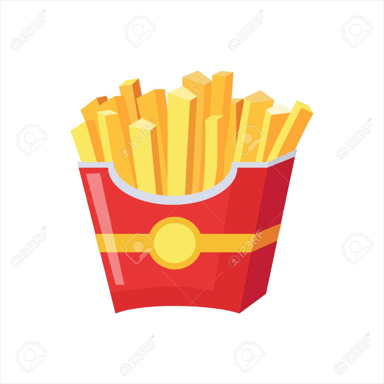 paper pack of french fries, street fast food cafe menu item colorful