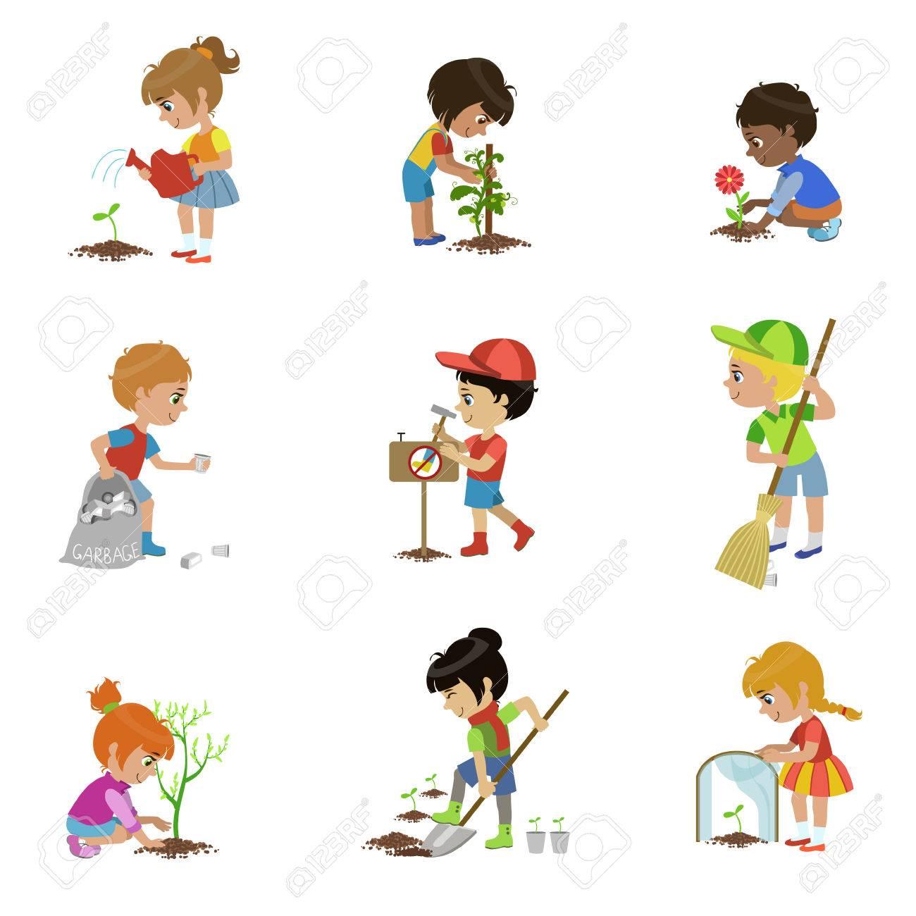 Conjunto De Ilustraciones De Jardinería Para Niños Ilustraciones ...