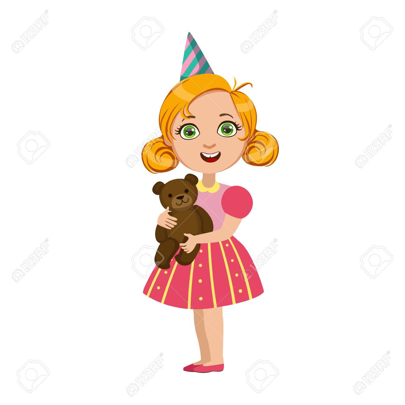 Girl With Teddy Bear Part Of Kids At The Birthday Party Set Royalty Free Cliparts Vectors And Stock Illustration Image 74439712