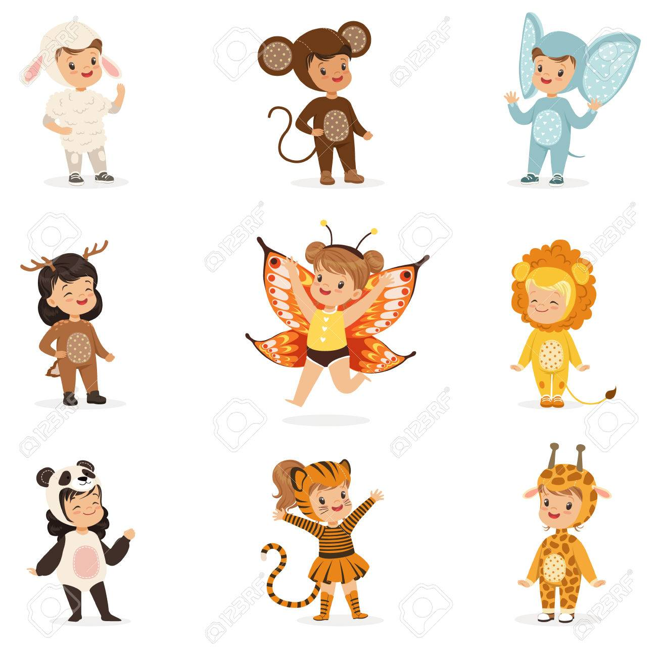 Kinds In Animal Costume Disguise Happy And Ready For Halloween Masquerade Party Collection Of Cute Disguised Infants - 74439656