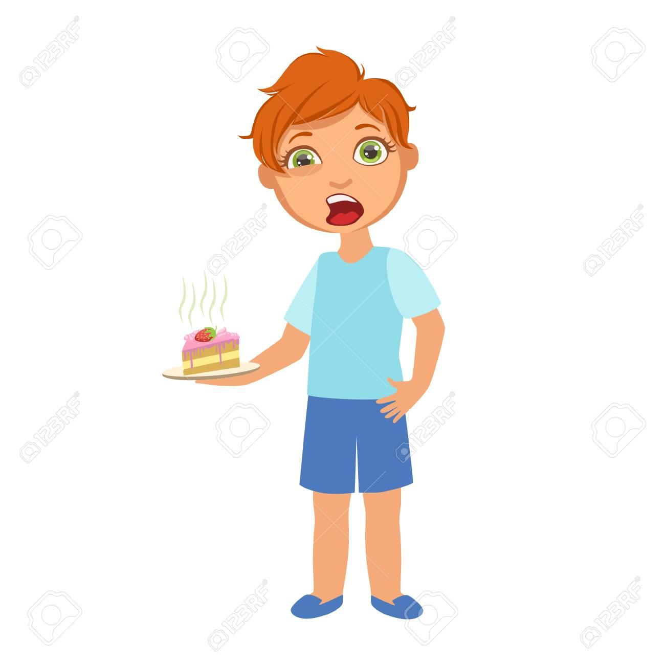 病気子供の部分とイラストの健康問題シリーズのため気分が悪くケーキ